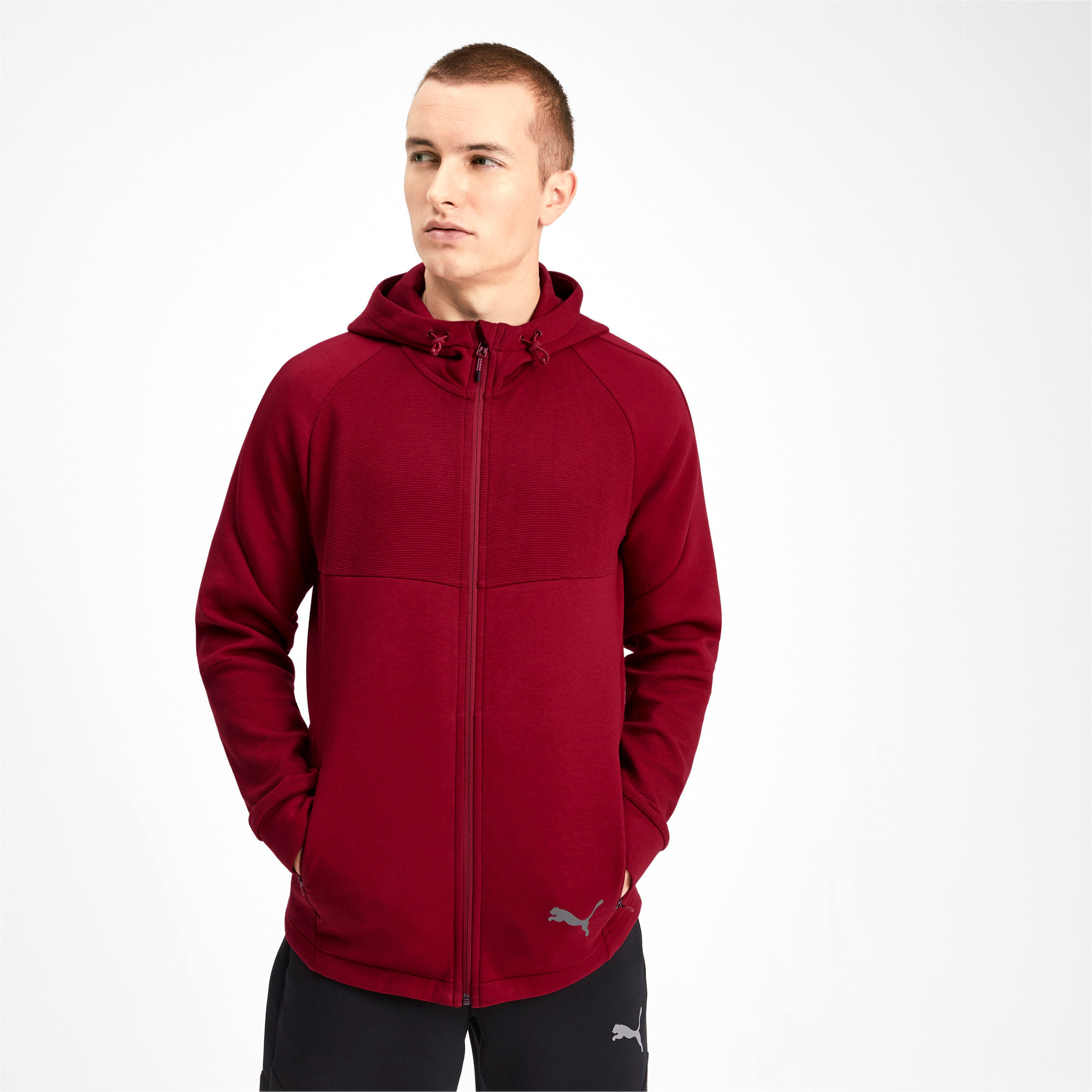 Thumbnail 1 of Evostripe Men's Full Zip Hoodie, Rhubarb, medium