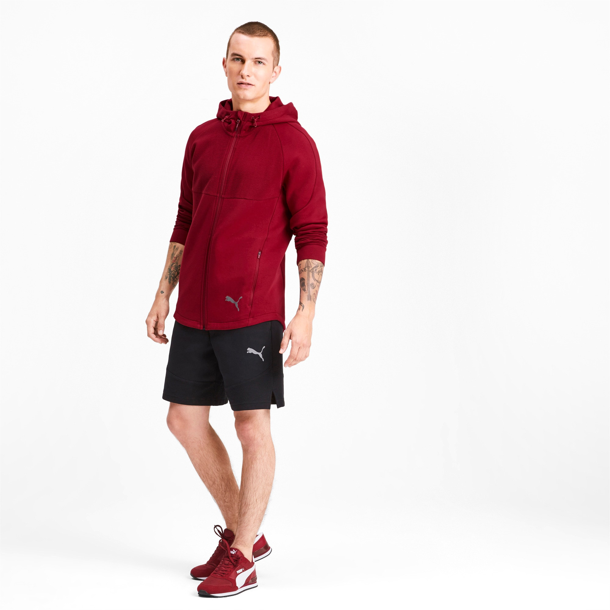 Thumbnail 3 of Evostripe Men's Full Zip Hoodie, Rhubarb, medium