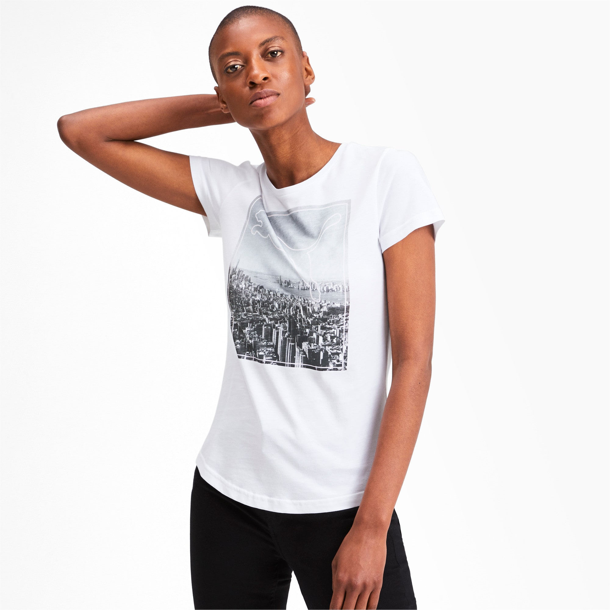 Miniatura 1 de Camiseta estampada Photoprint para mujer, Puma White, mediano