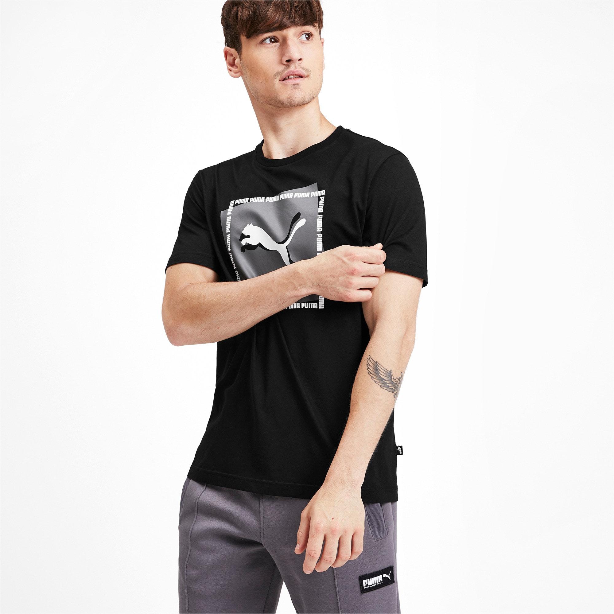 Thumbnail 1 of Cat Brand Graphic Men's Tee, Puma Black, medium