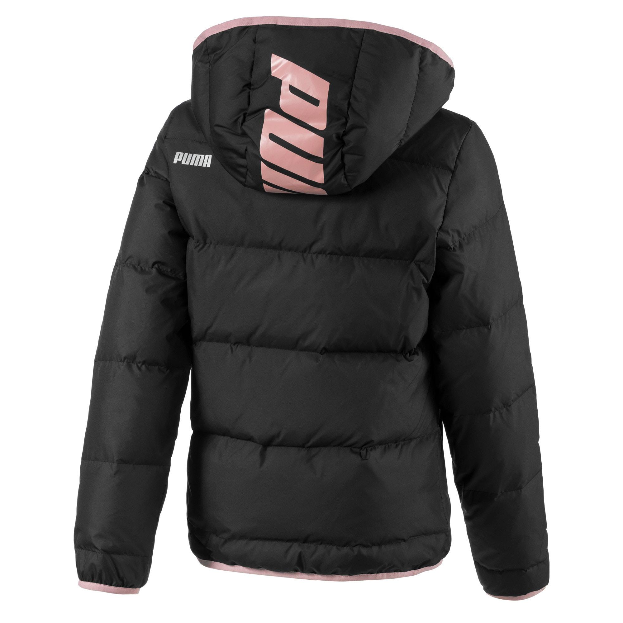 Thumbnail 2 of Light Down Girls' Jacket, Puma Black, medium