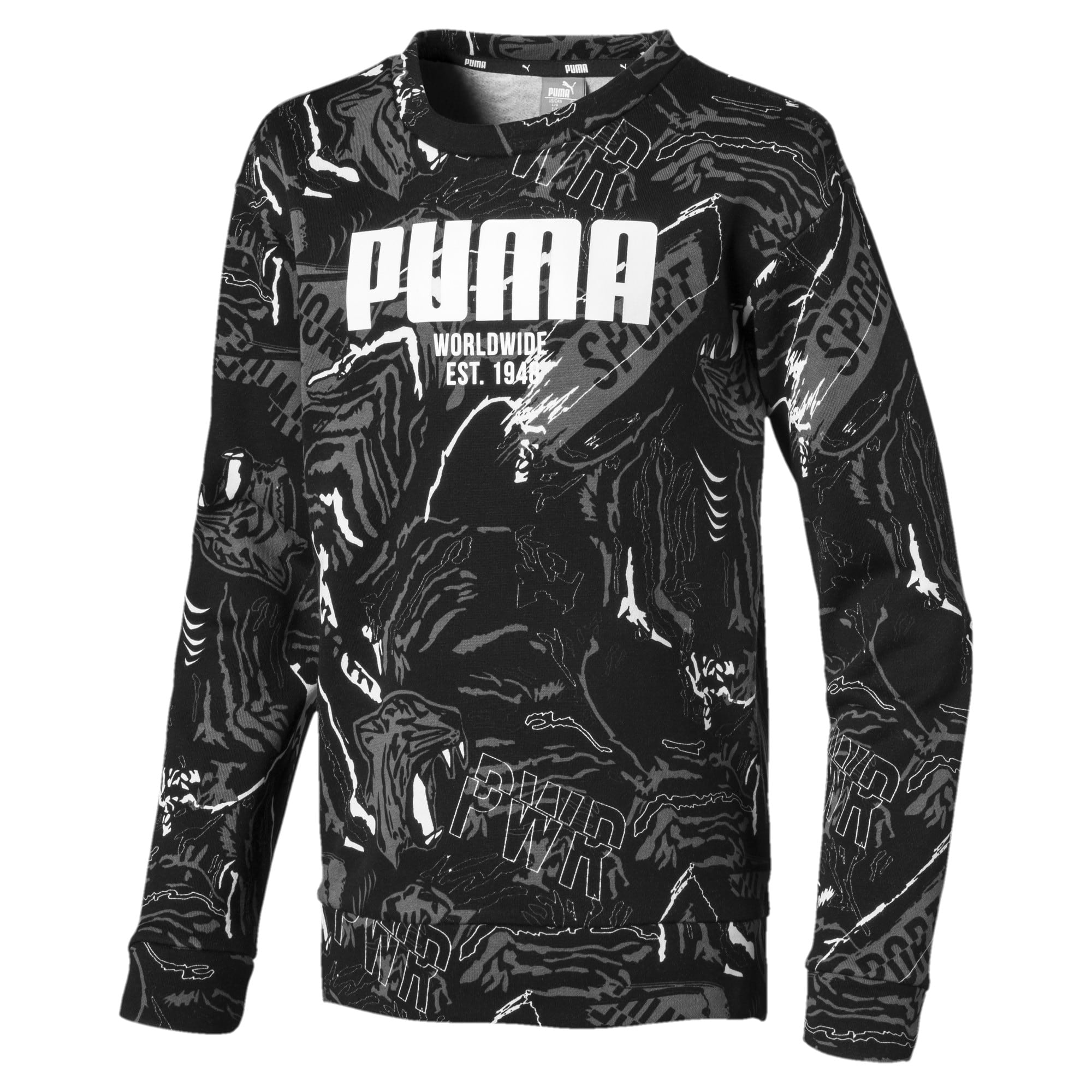 Thumbnail 1 of Alpha Graphic Long Sleeve Boys' Shirt, Puma Black, medium