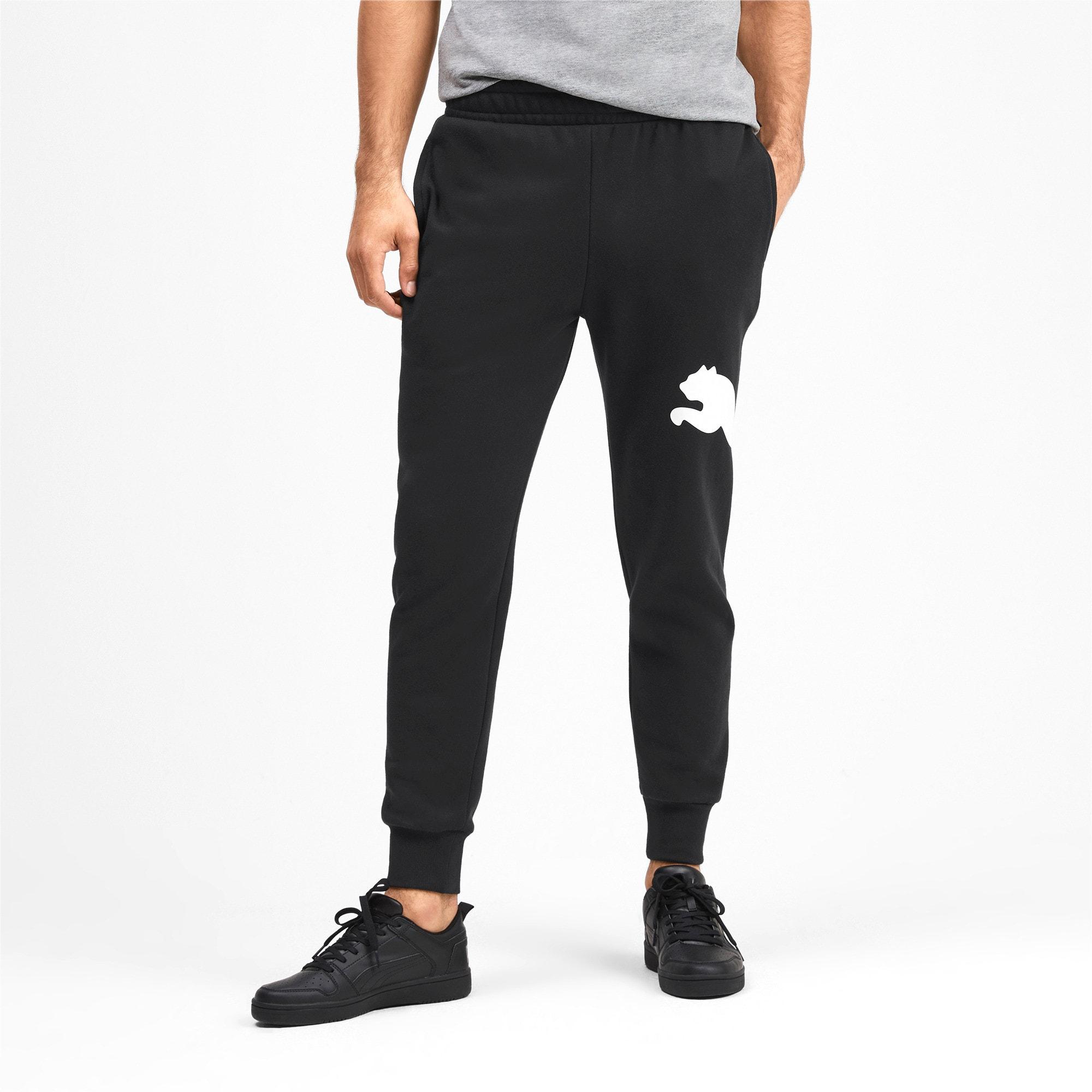 Thumbnail 2 of Men's Big Logo Fleece Sweatpants, Puma Black, medium