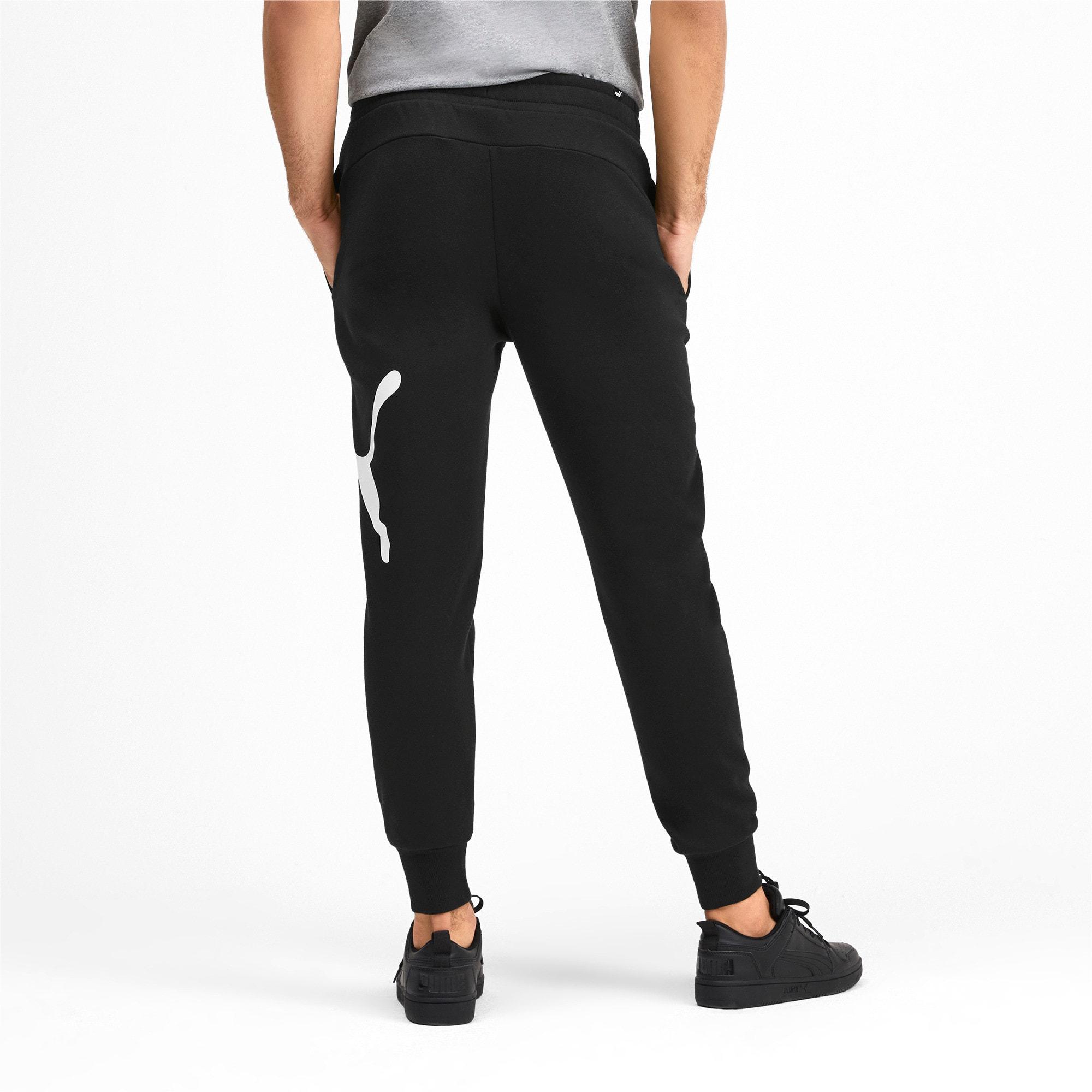 Thumbnail 3 of Men's Big Logo Fleece Sweatpants, Puma Black, medium