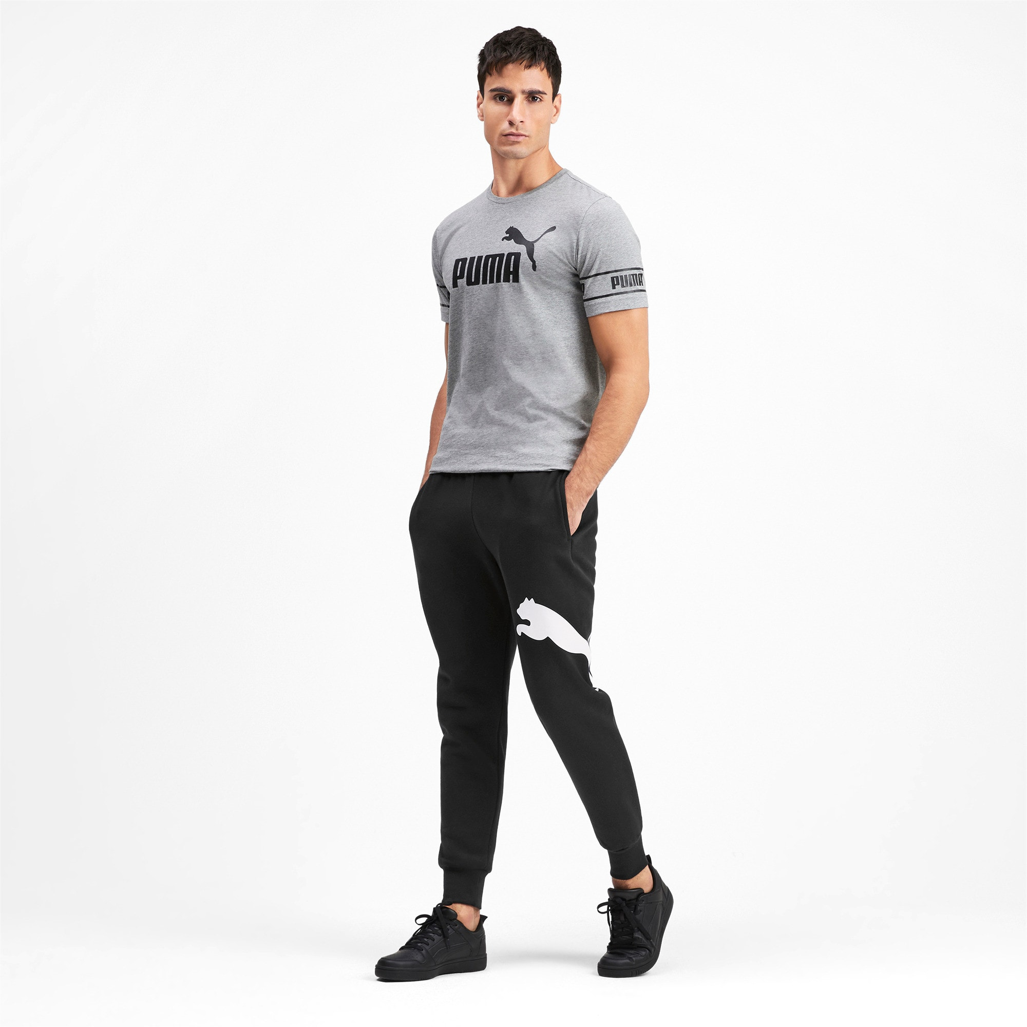 Thumbnail 4 of Men's Big Logo Fleece Sweatpants, Puma Black, medium