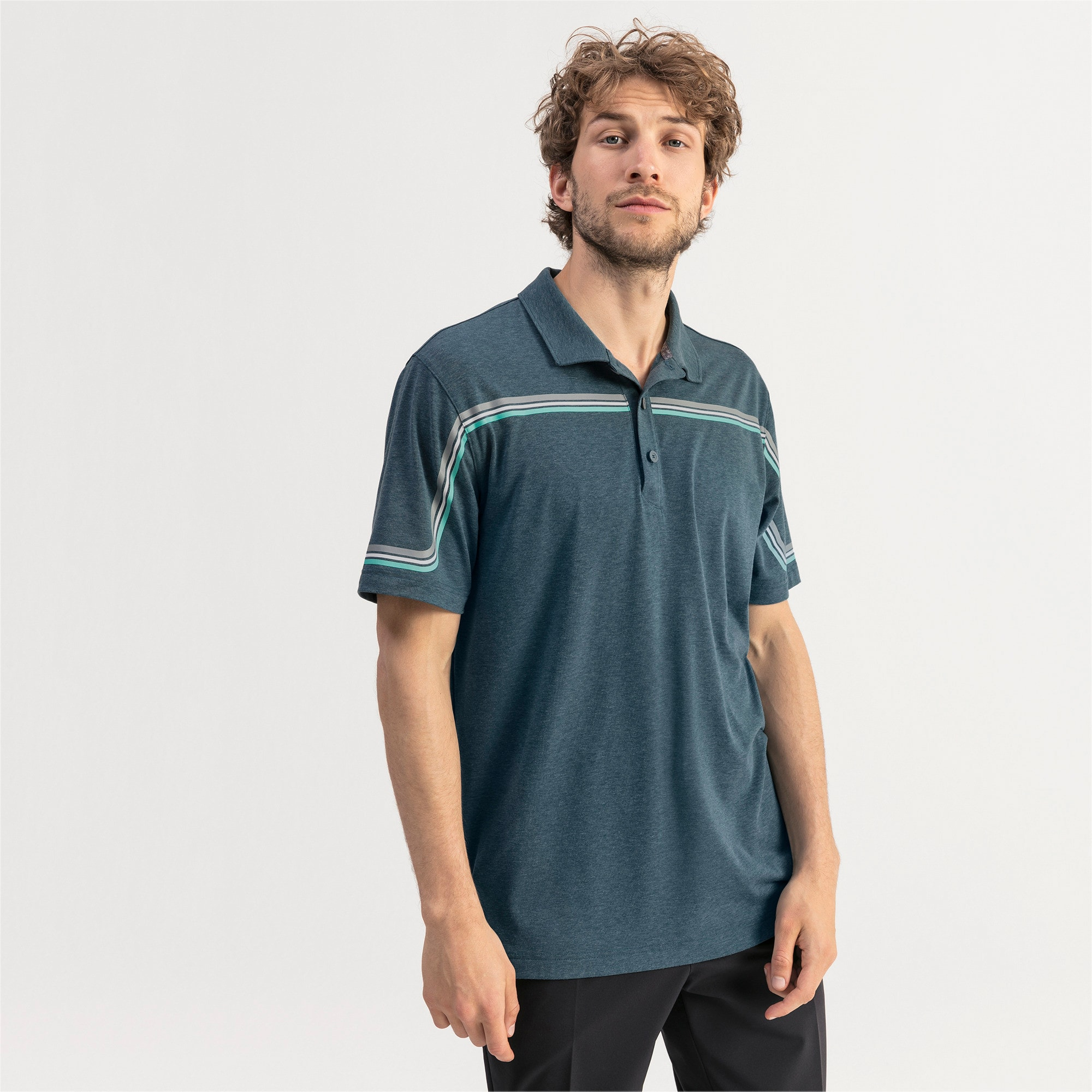 Thumbnail 1 of Looping Men's Golf Polo, Gibraltar Sea Heather, medium