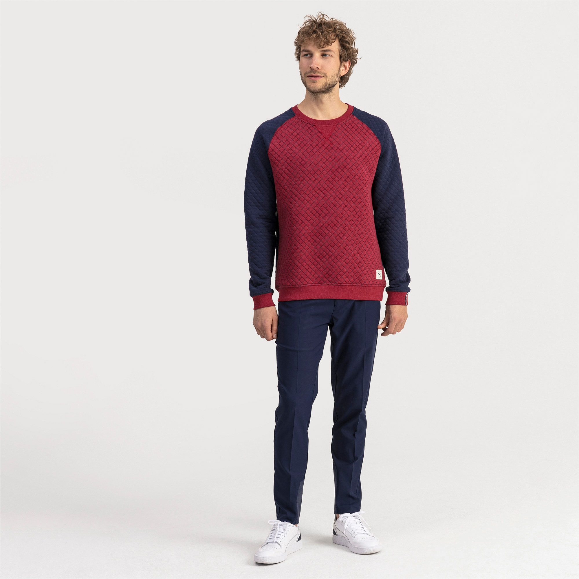 Thumbnail 3 of Gestepptes Herren Golf Sweatshirt, Rhubarb Heather, medium