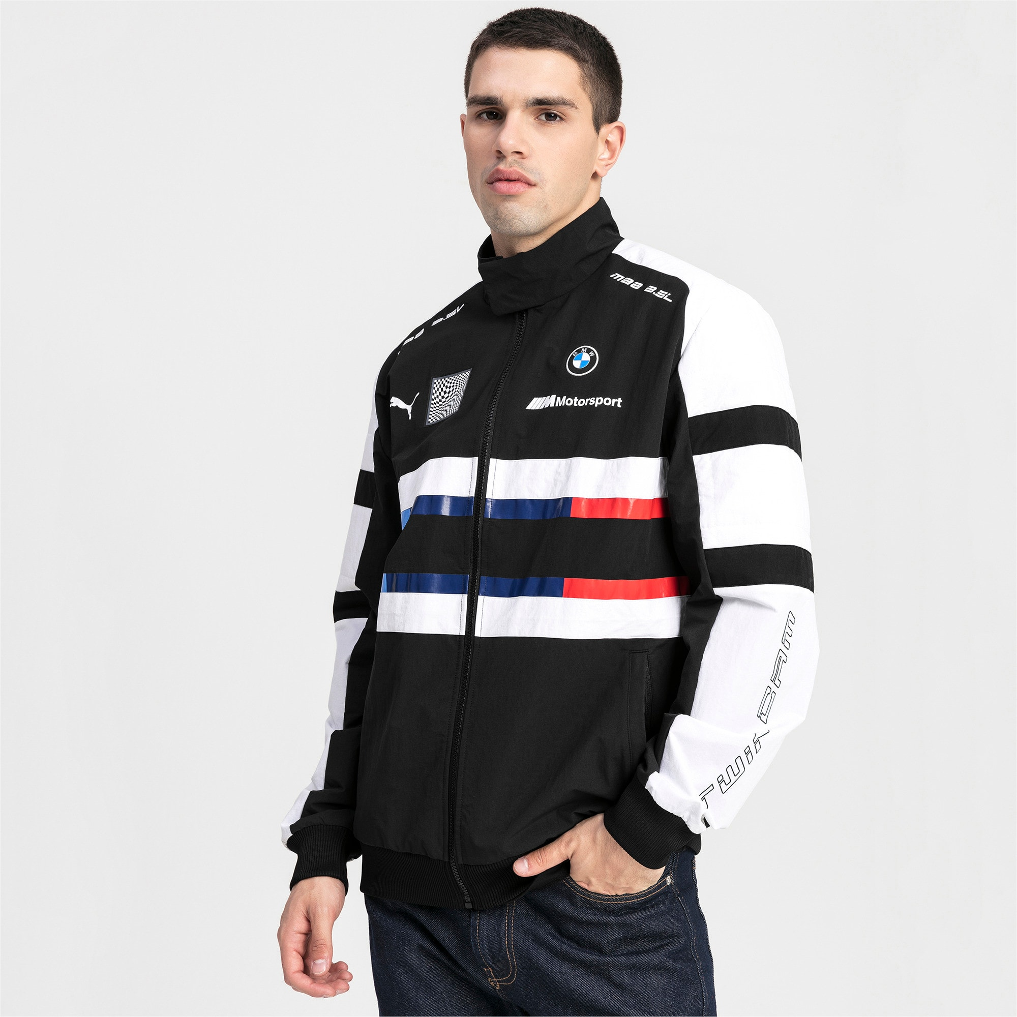 Thumbnail 1 of BMW Motorsport Street Woven Men's Jacket, Puma Black, medium