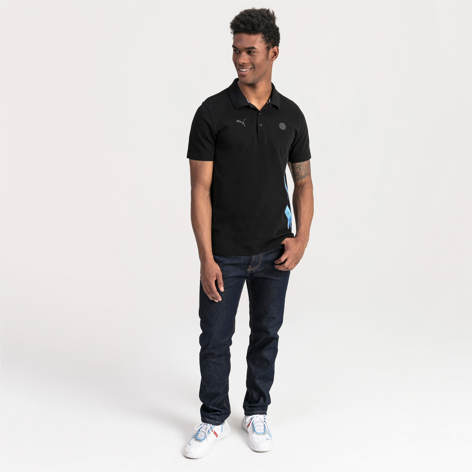 Thumbnail 3 of BMW M Motorsport Life Graphic Men's Polo Shirt, Puma Black, medium