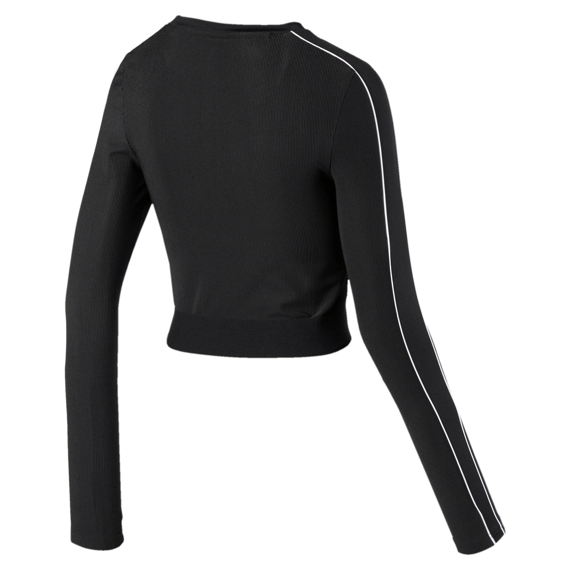 Thumbnail 5 of Classics Rib Cropped Long Sleeve Women's Top, Puma Black, medium