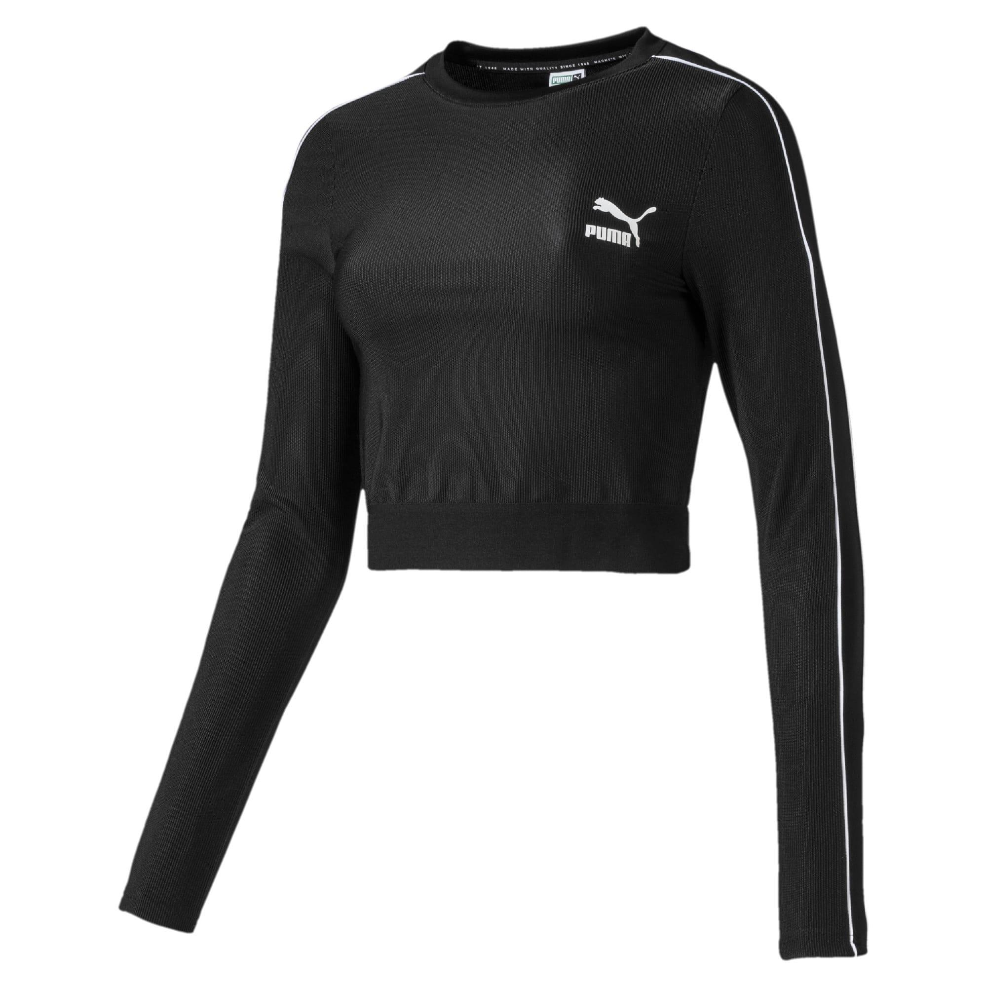 Thumbnail 4 of Classics Rib Cropped Long Sleeve Women's Top, Puma Black, medium