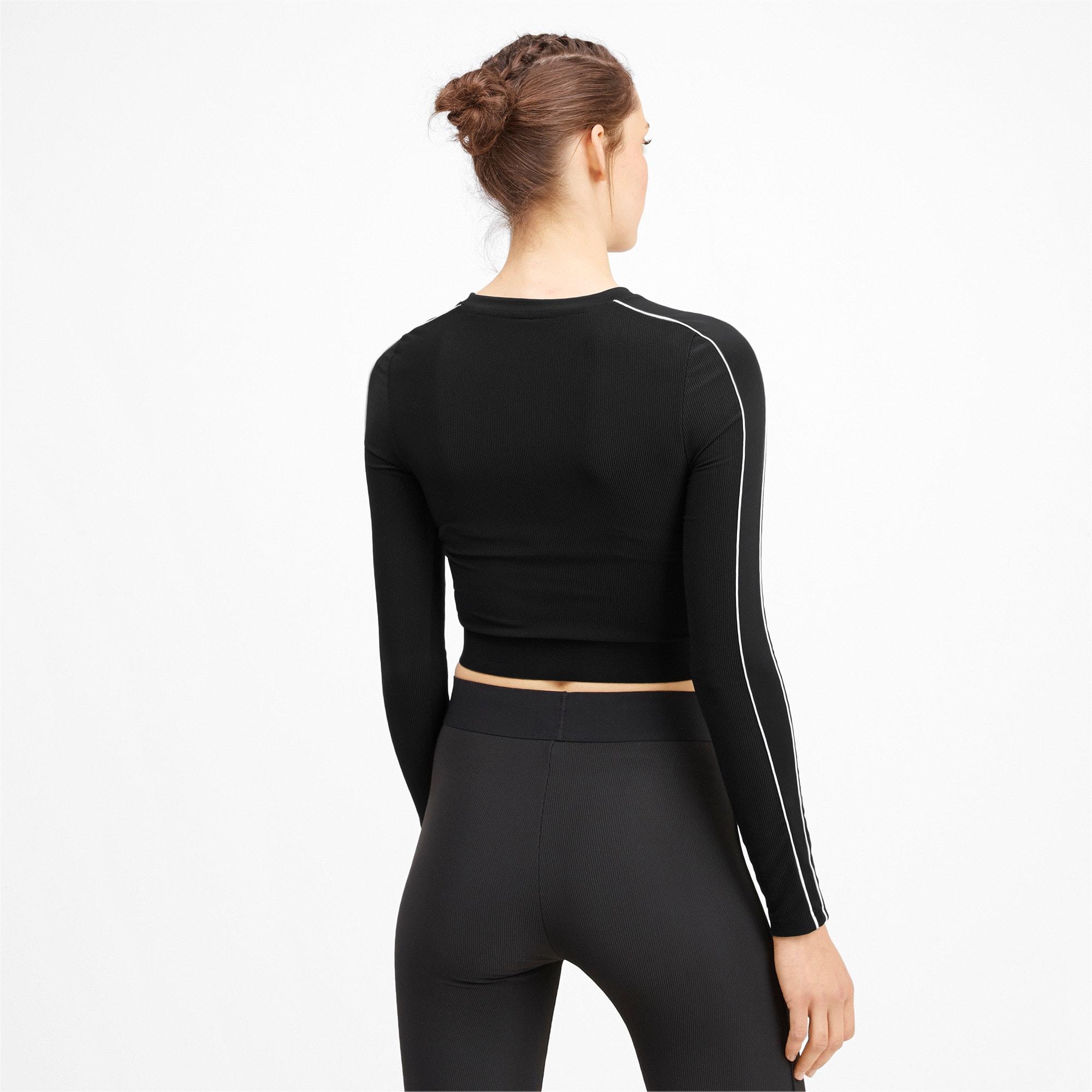 Thumbnail 2 of Classics Rib Cropped Long Sleeve Women's Top, Puma Black, medium