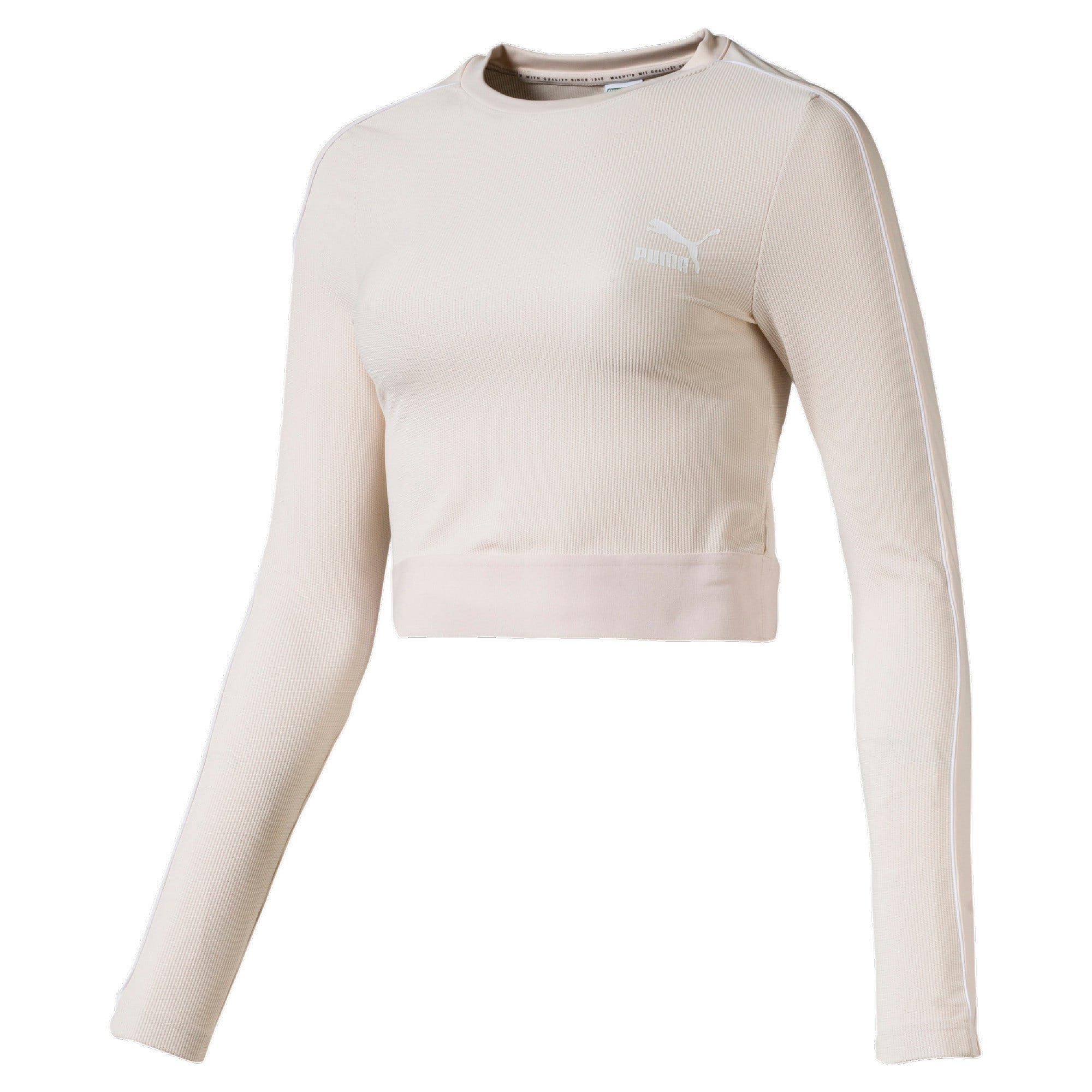 Thumbnail 4 of Classics Rib Cropped Long Sleeve Women's Top, Pastel Parchment, medium