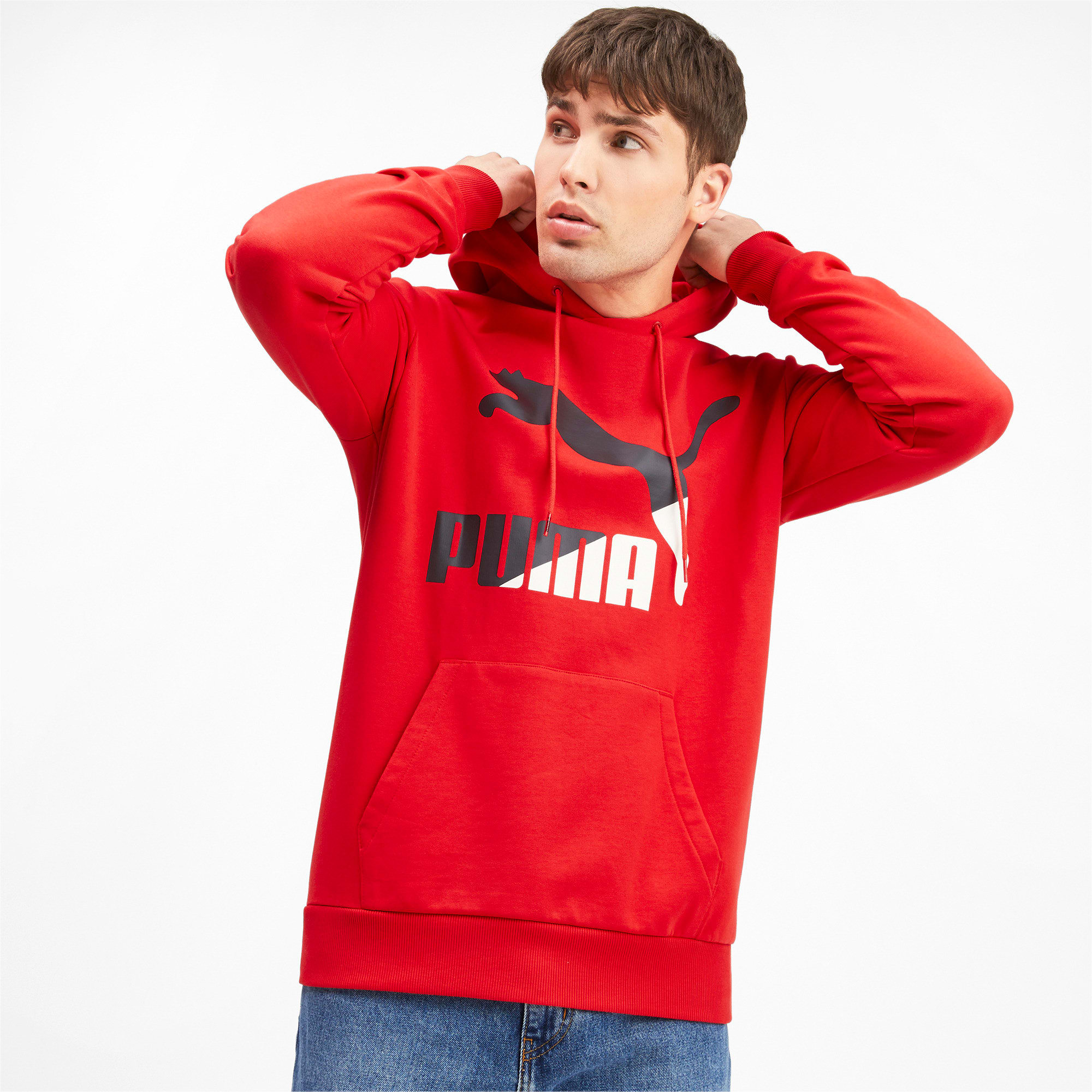 Thumbnail 2 of Classics Men's Logo Hoodie, High Risk Red--logo combo, medium