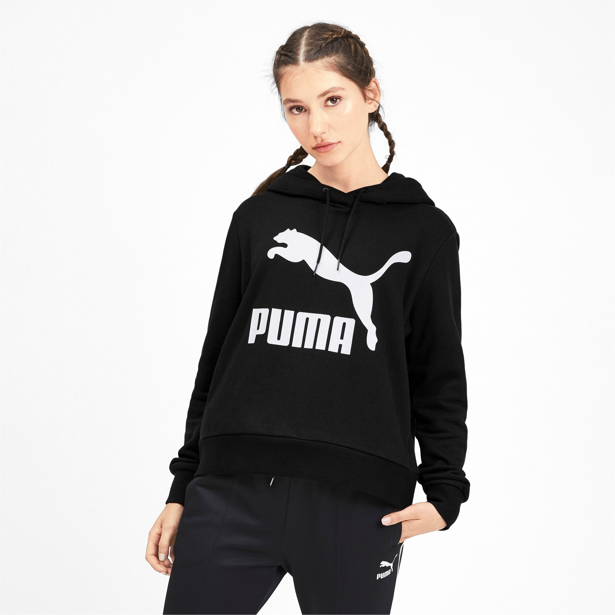 Thumbnail 2 of Classics Logo Women's Hoodie, Puma Black, medium
