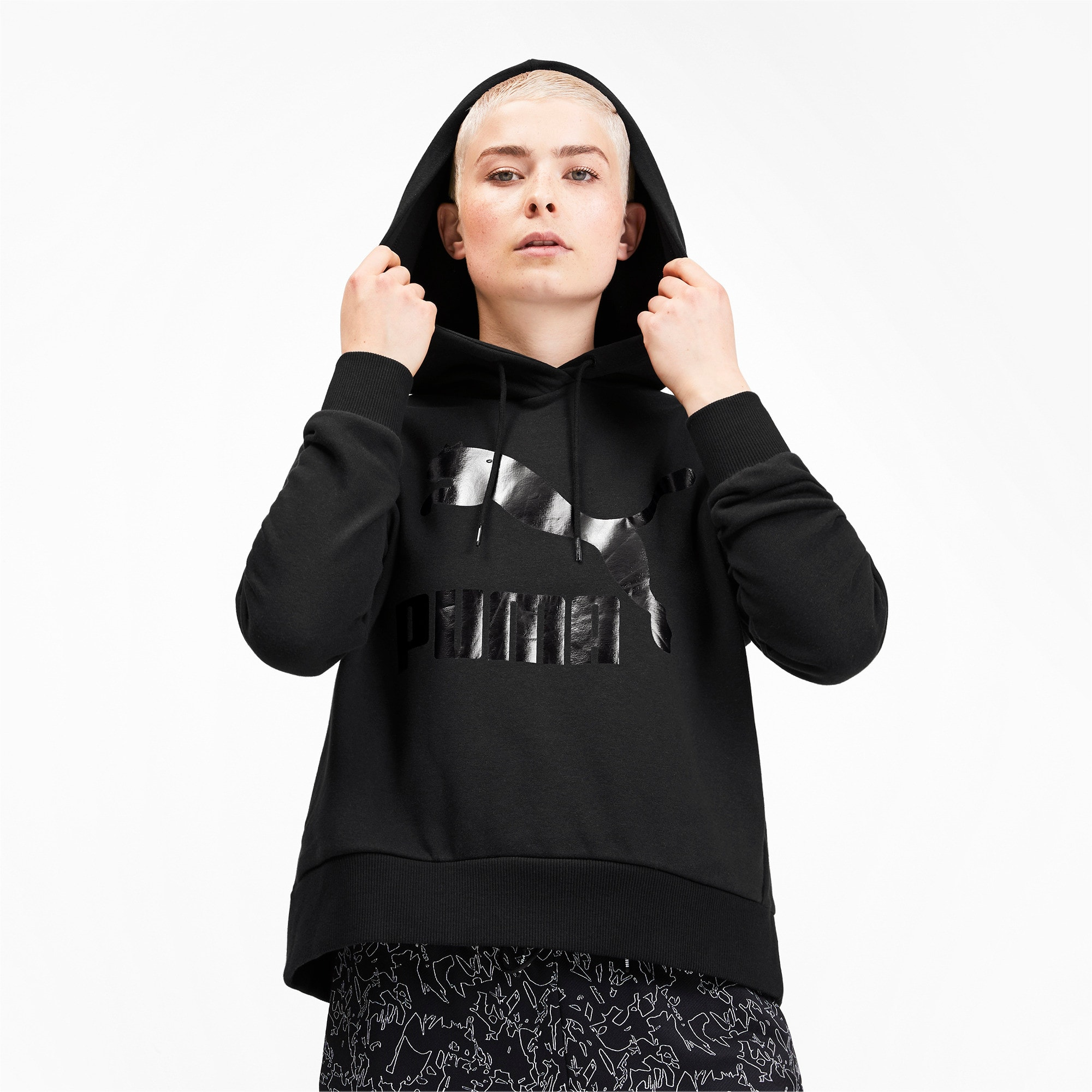 Thumbnail 2 of Classics Logo Women's Hoodie, Puma Black, medium