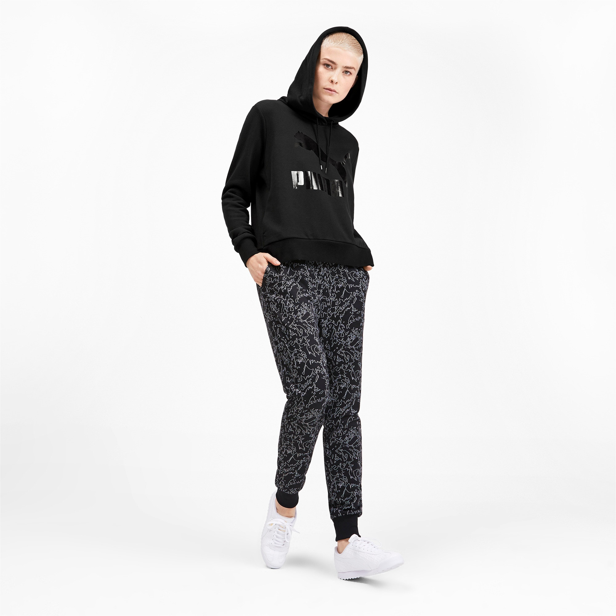 Thumbnail 4 of Classics Logo Women's Hoodie, Puma Black, medium