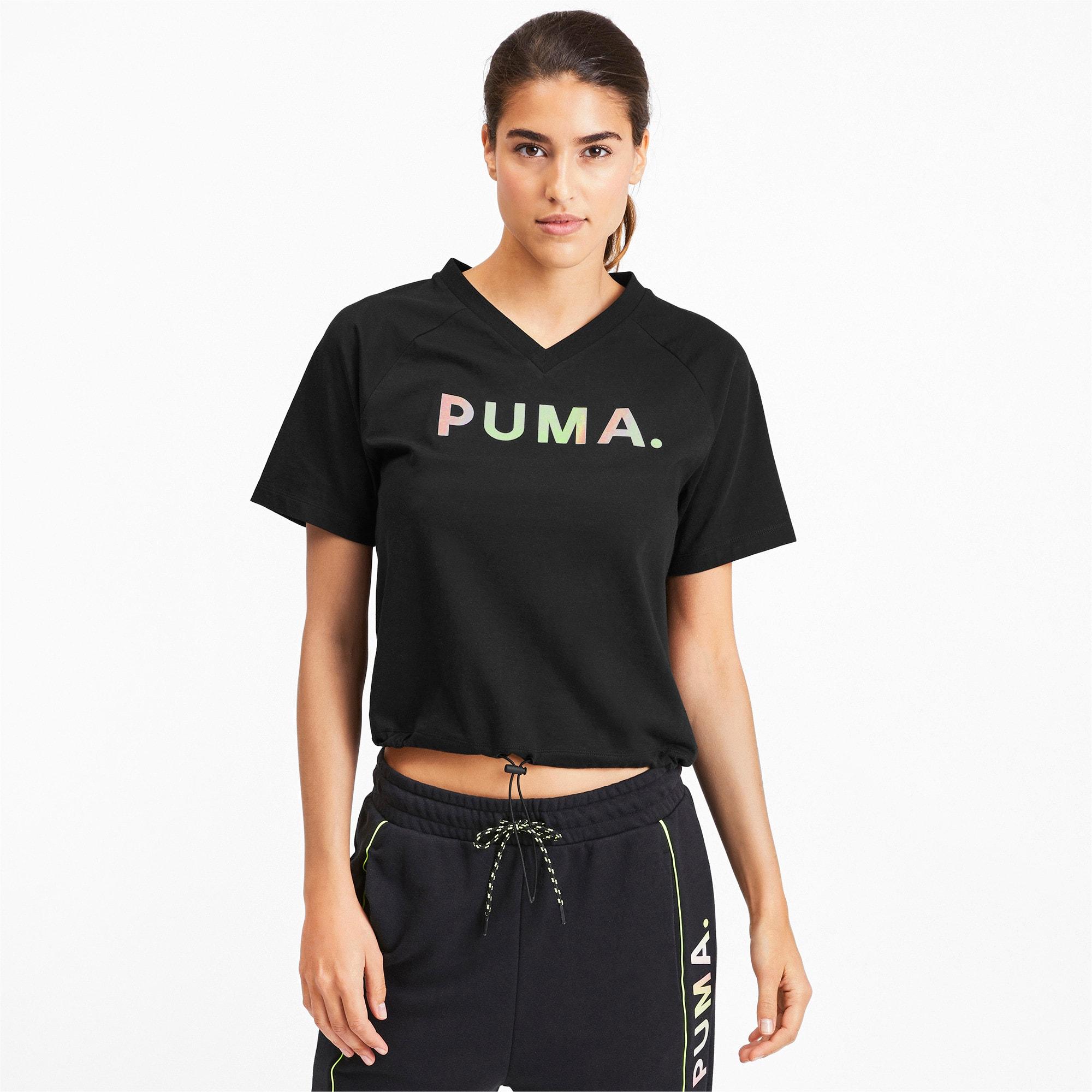 Thumbnail 1 of Chase Women's V-Neck Tee, Puma Black, medium