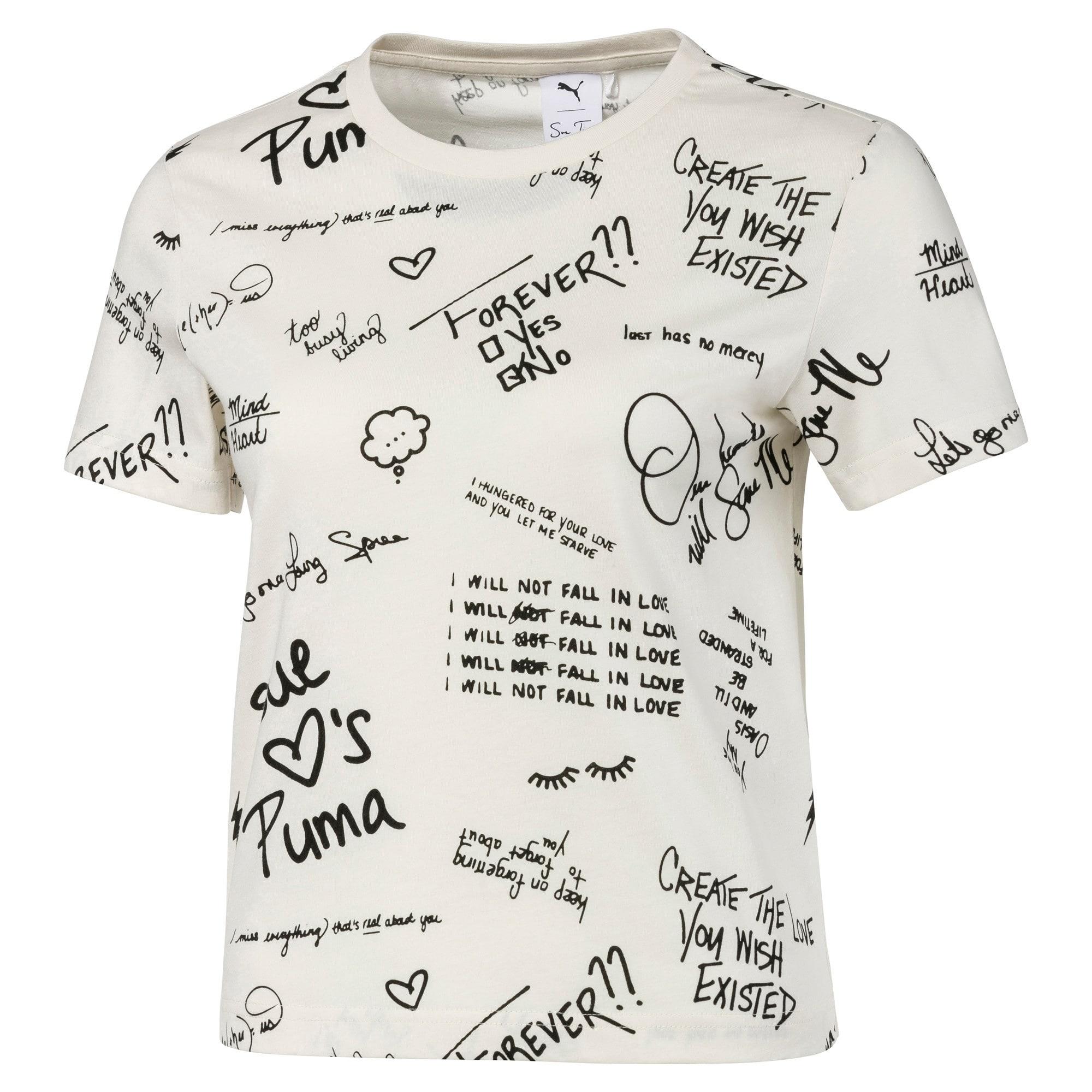Thumbnail 1 of PUMA x SUE TSAI All-Over Print Women's Tee, Whisper White, medium