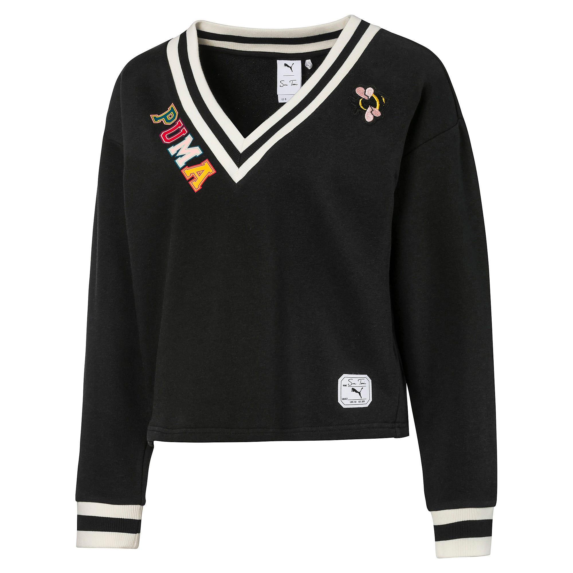 Thumbnail 1 of PUMA x SUE TSAI ウィメンズ Vネック セーター, Puma Black, medium-JPN