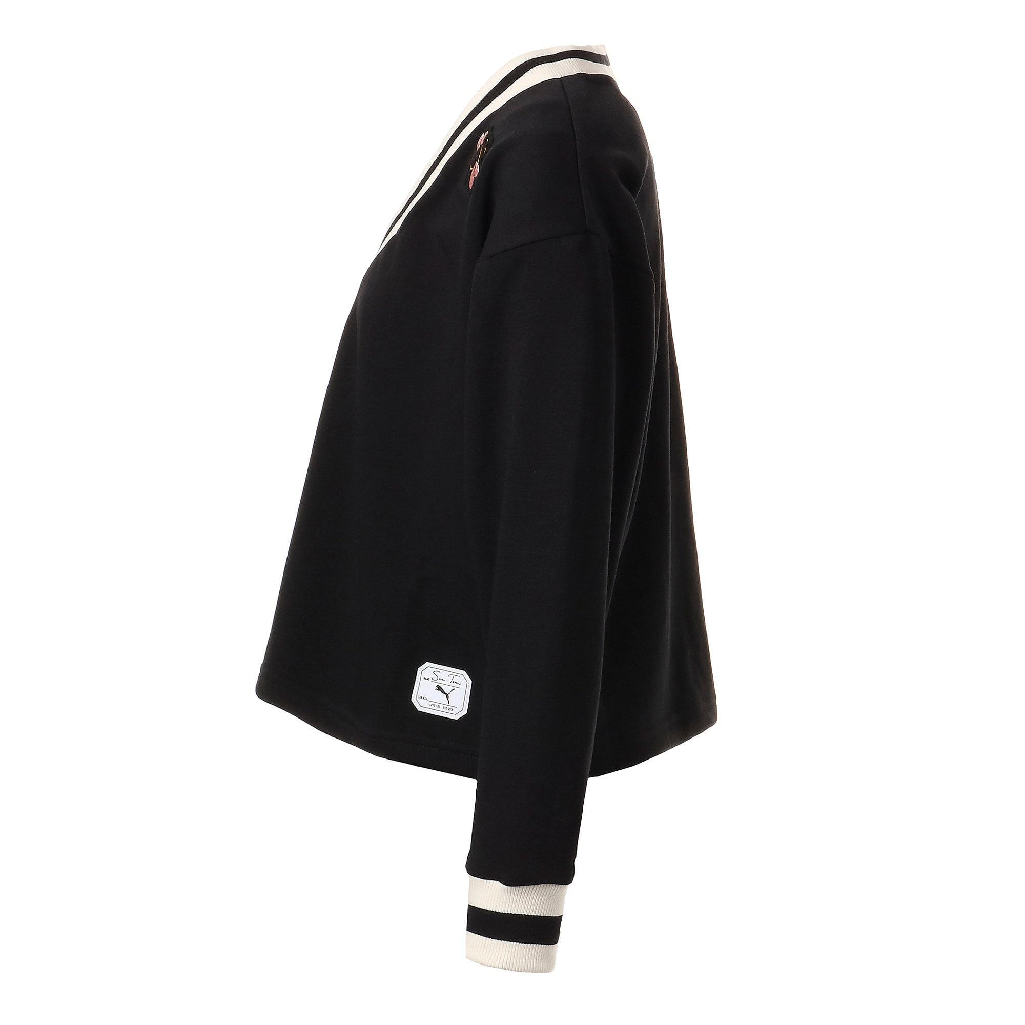 Thumbnail 2 of PUMA x SUE TSAI ウィメンズ Vネック セーター, Puma Black, medium-JPN