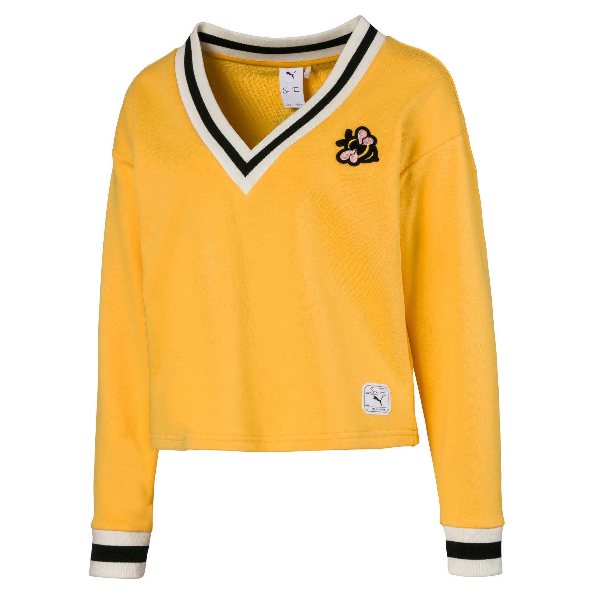Miniatura 1 de Suéter con cuello en V PUMA x SUE TSAI para mujer, Narciso, mediano