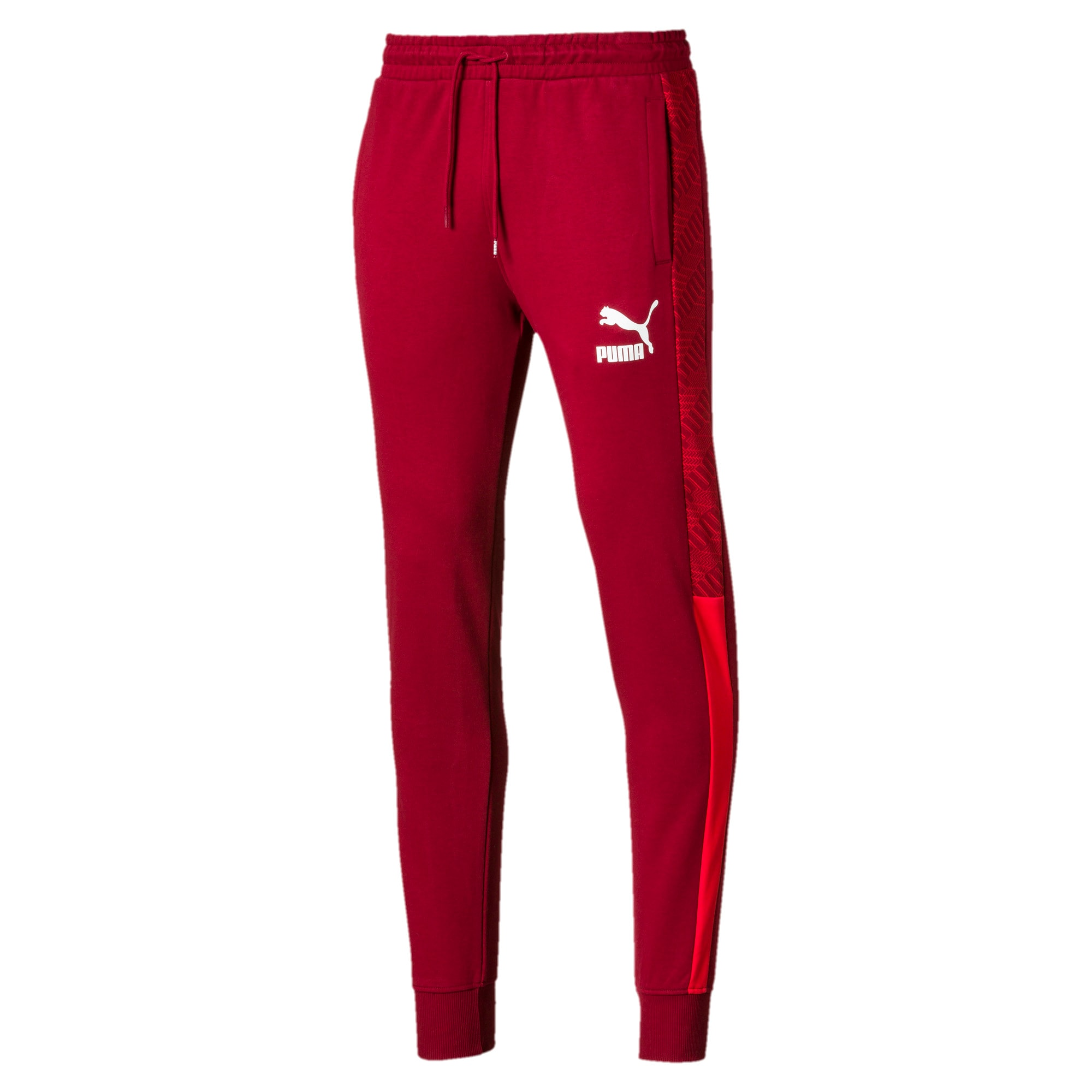 Thumbnail 1 of T7 Men's AOP Track Pants, Rhubarb-Repeat logo, medium
