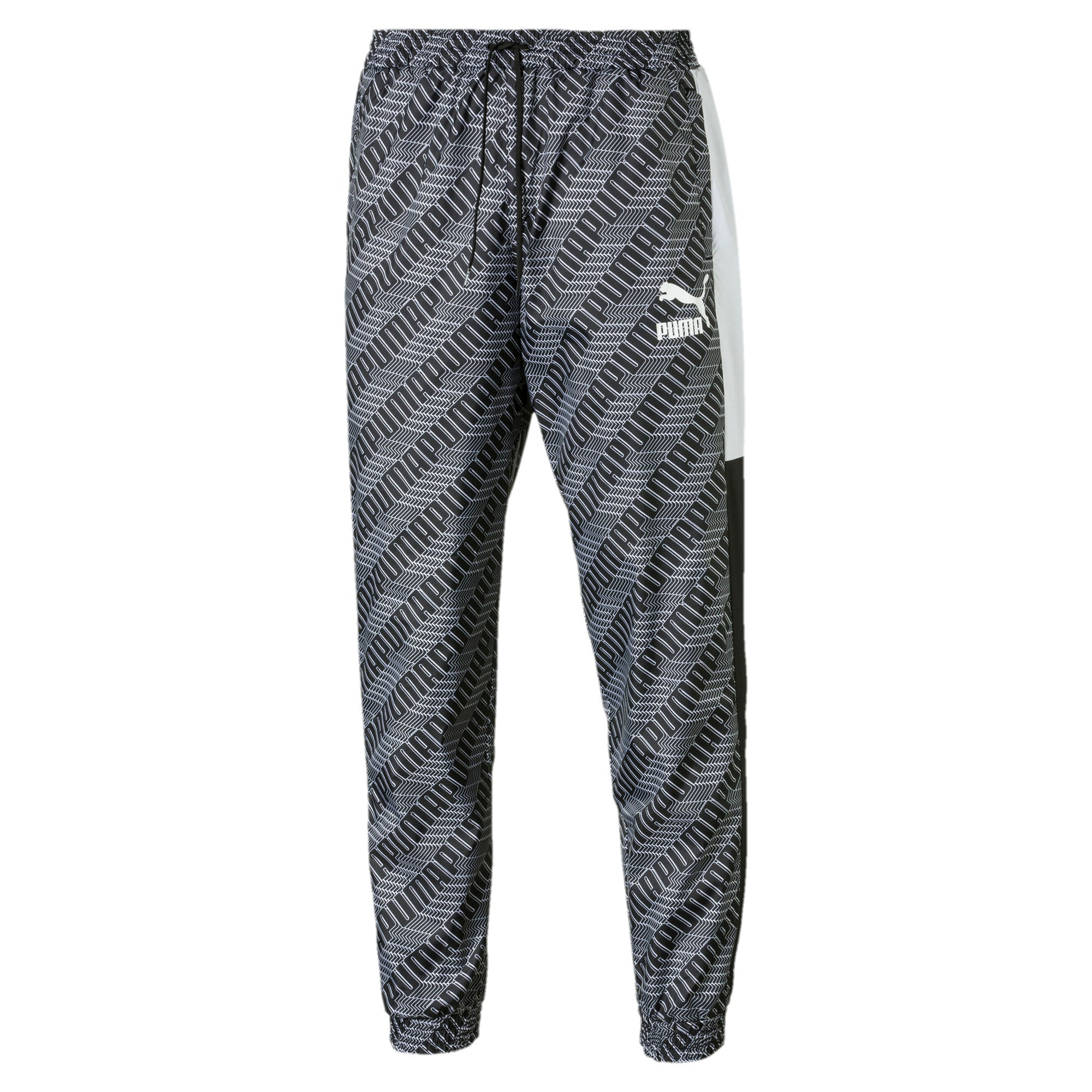 Thumbnail 1 of T7 AOP Panel Men's Track Pants, Puma Black-Repeat logo, medium