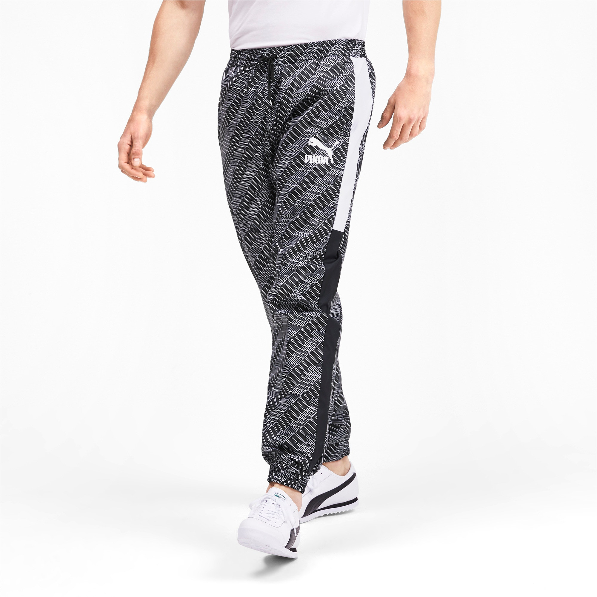 Thumbnail 2 of T7 AOP Panel Men's Track Pants, Puma Black-Repeat logo, medium