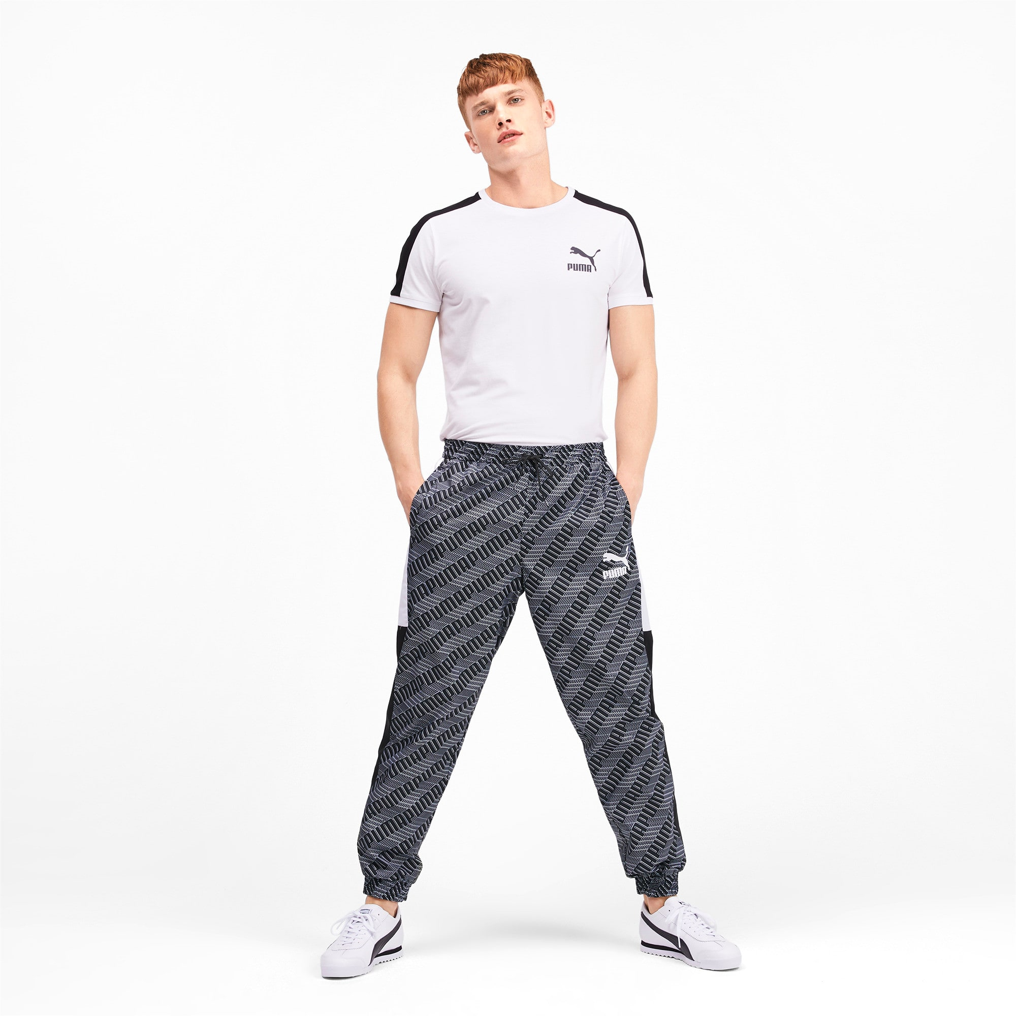 Thumbnail 4 of T7 AOP Panel Men's Track Pants, Puma Black-Repeat logo, medium