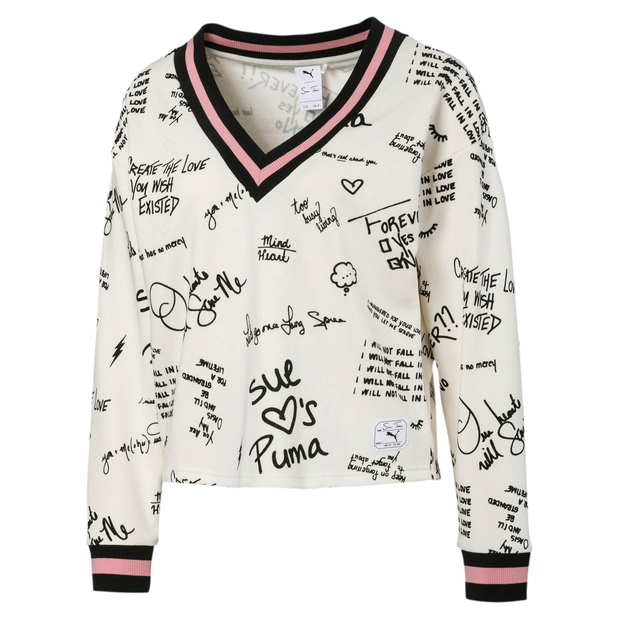 Thumbnail 1 of PUMA x SUE TSAI Women's AOP V-Neck Sweater, Whisper White, medium