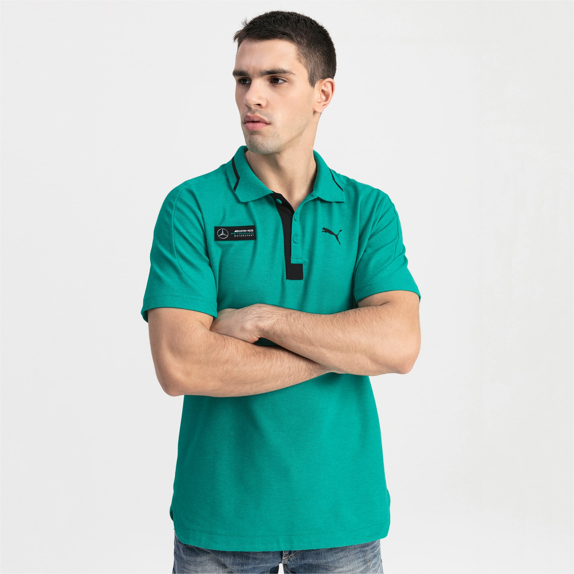 Mercedes AMG Petronas Men's Polo Shirt, Spectra Green Heather, large
