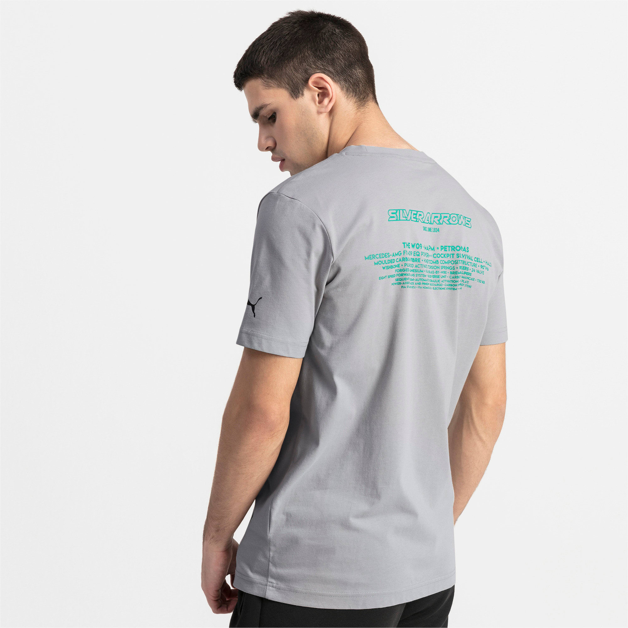 Thumbnail 2 of Mercedes AMG Petronas Short Sleeve Men's Tee, Mercedes Team Silver, medium
