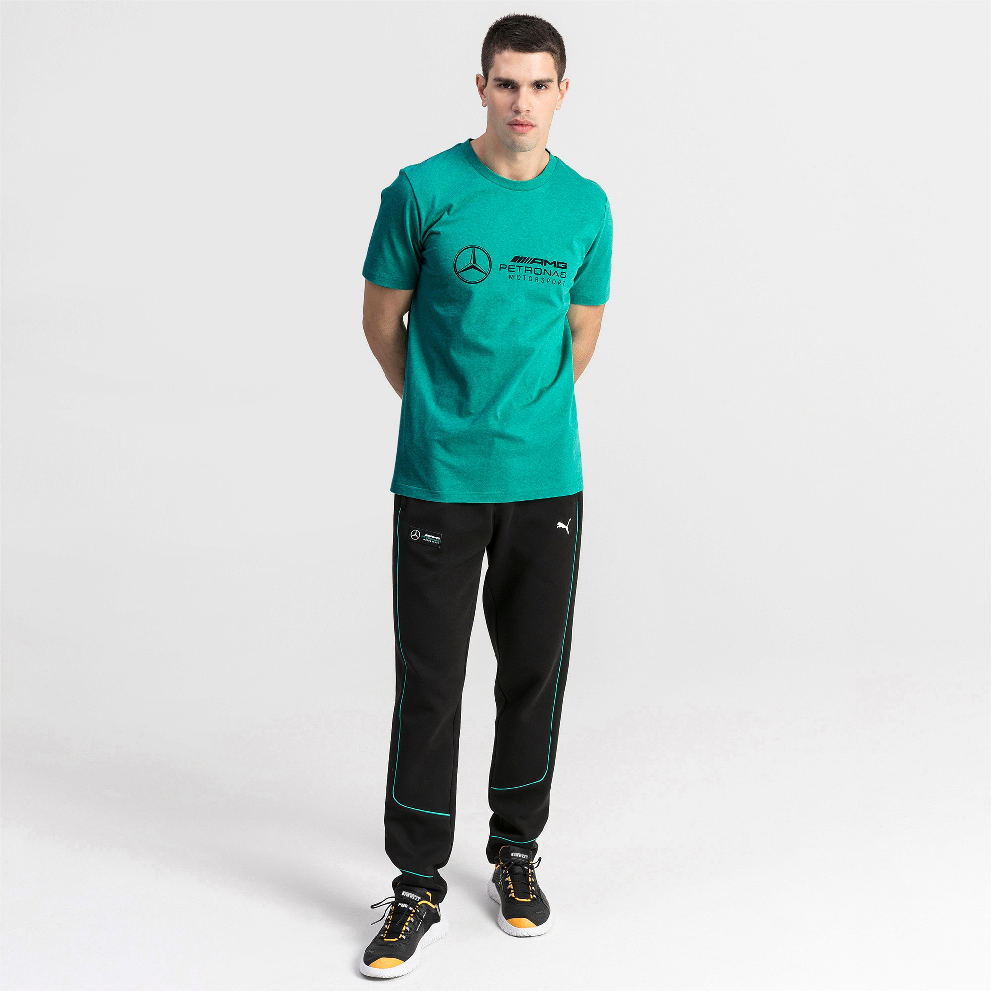 Mercedes AMG Petronas Short Sleeve Men's Tee, Spectra Green Heather, large