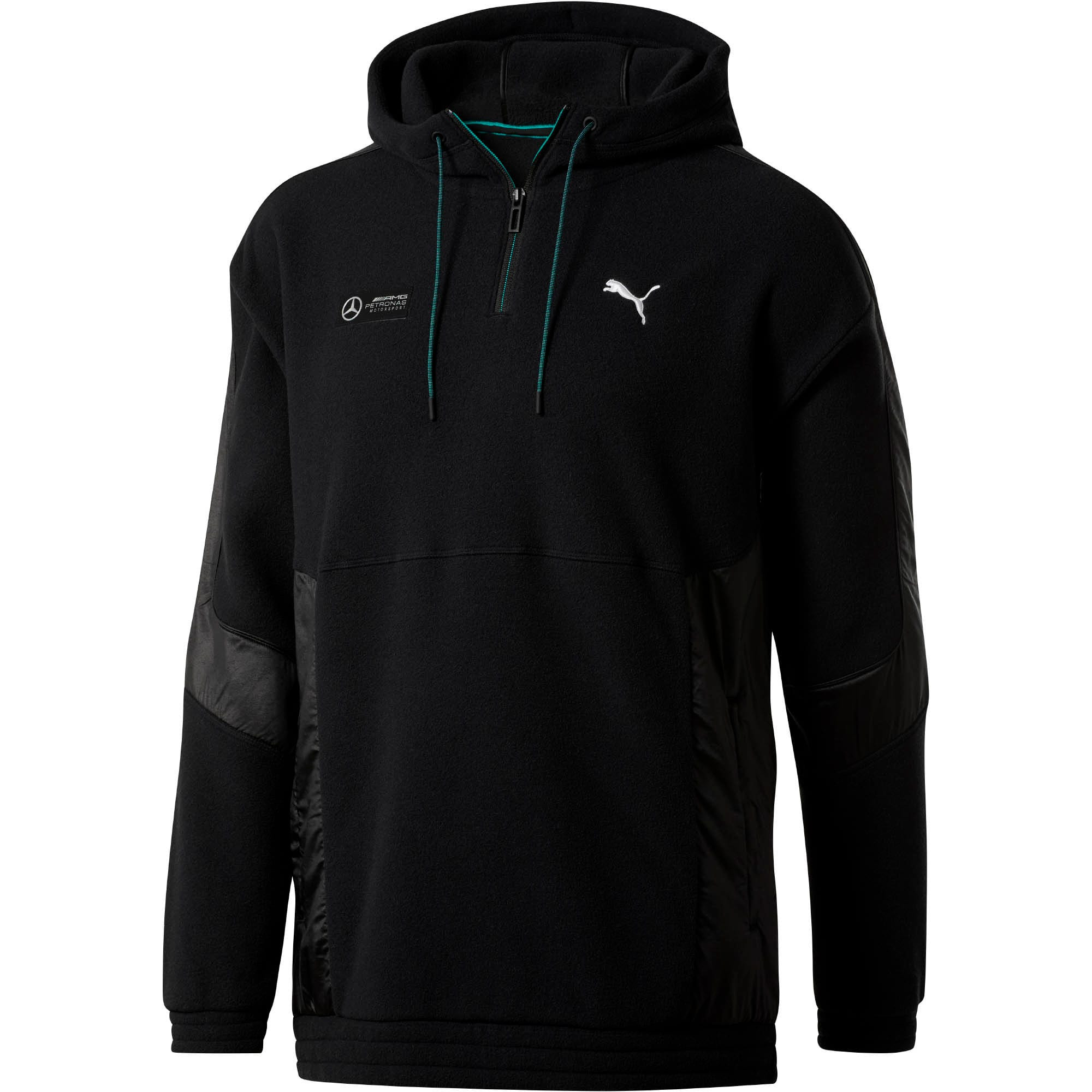 Thumbnail 1 of Mercedes AMG Petronas RCT Tech Men's Fleece Quarter Zip, Puma Black, medium