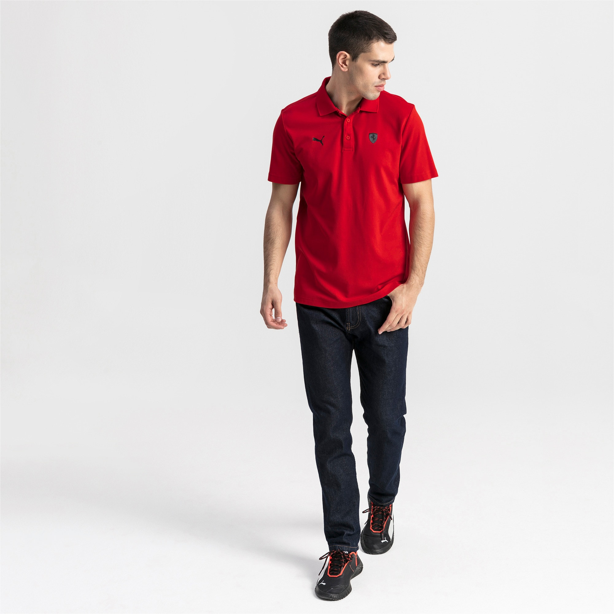 Thumbnail 3 of Ferrari Men's Polo Shirt, Rosso Corsa, medium