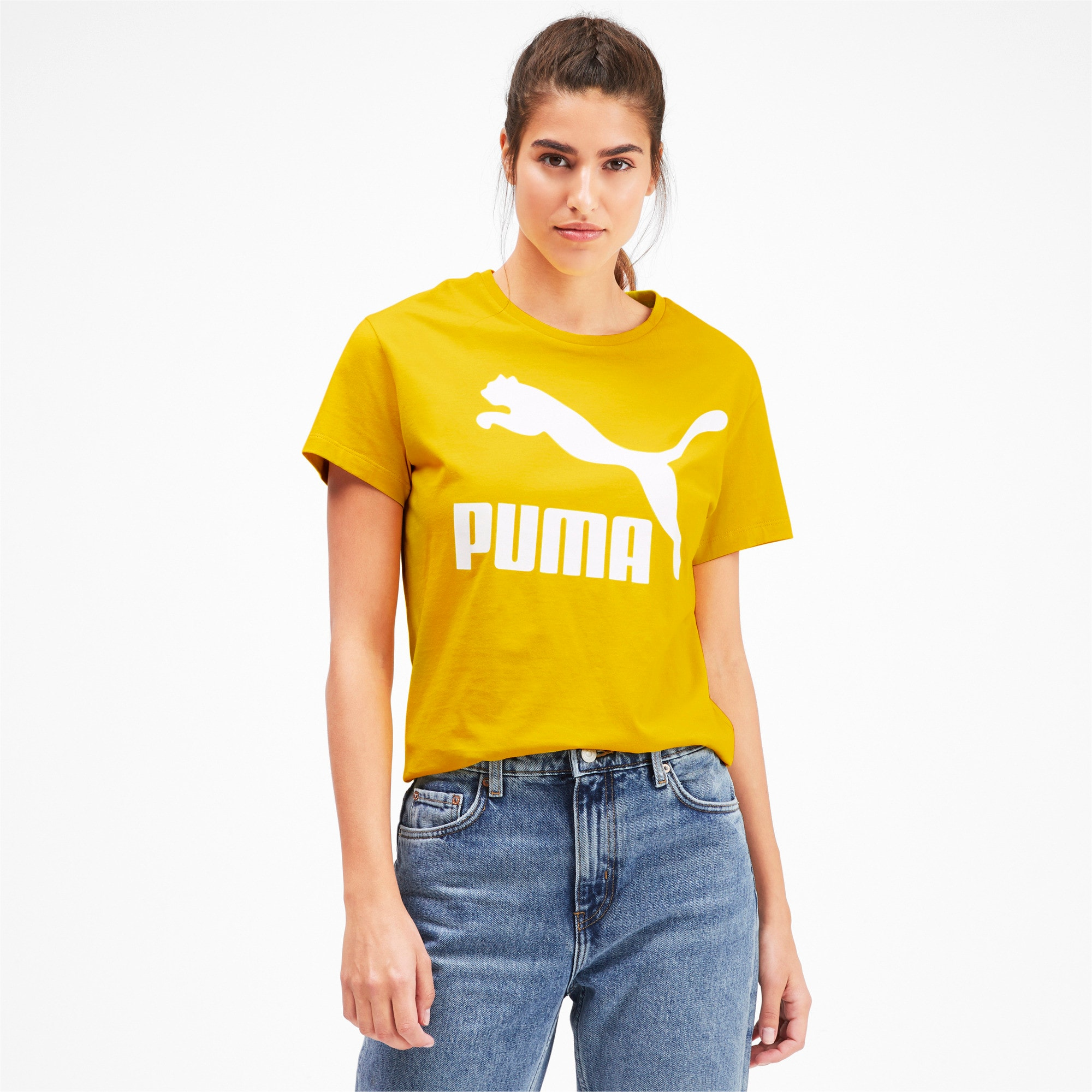 Miniatura 1 de Camiseta Classics con logotipo para mujer, Sulphur, mediano