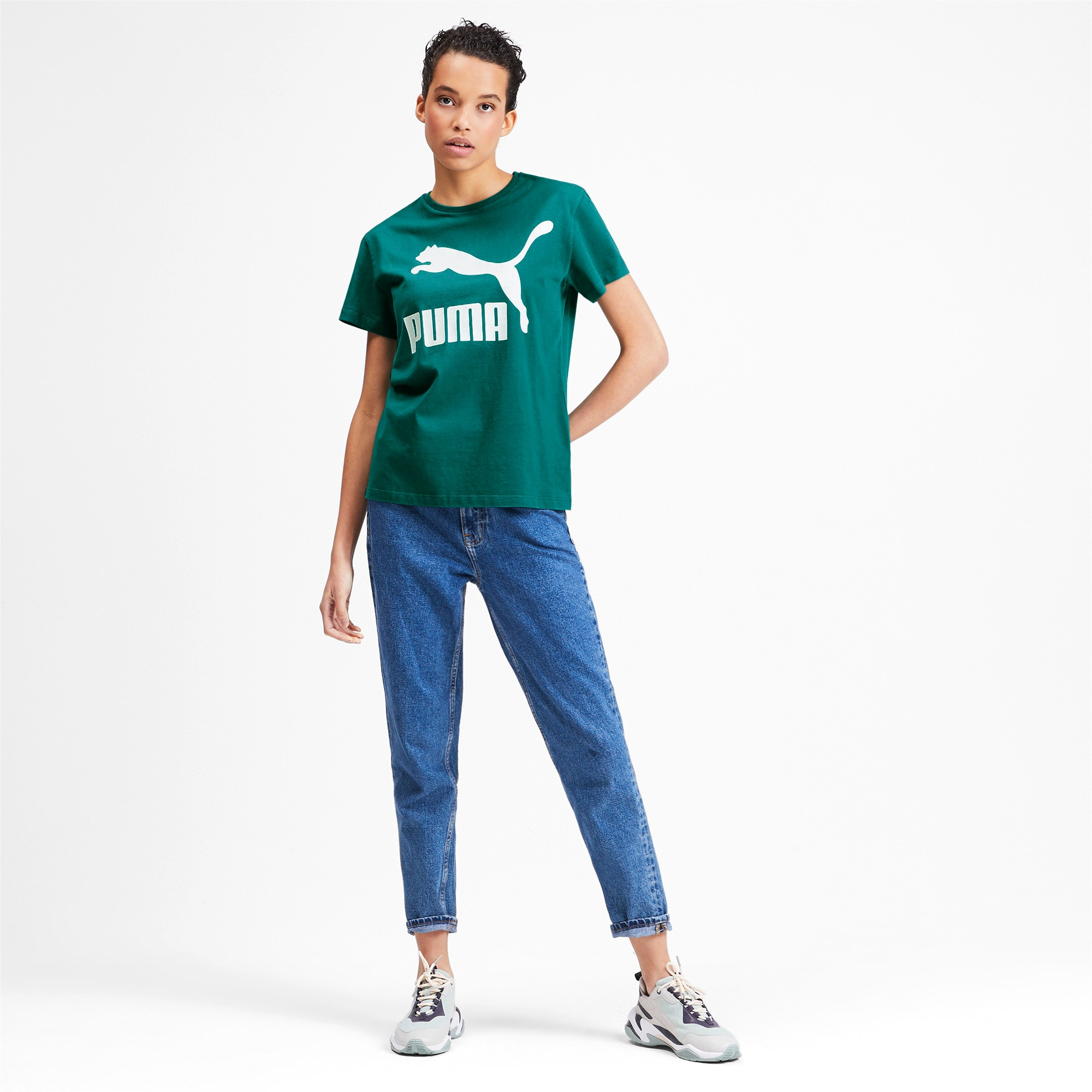 Thumbnail 3 of Classics Women's Logo Tee, Teal Green, medium