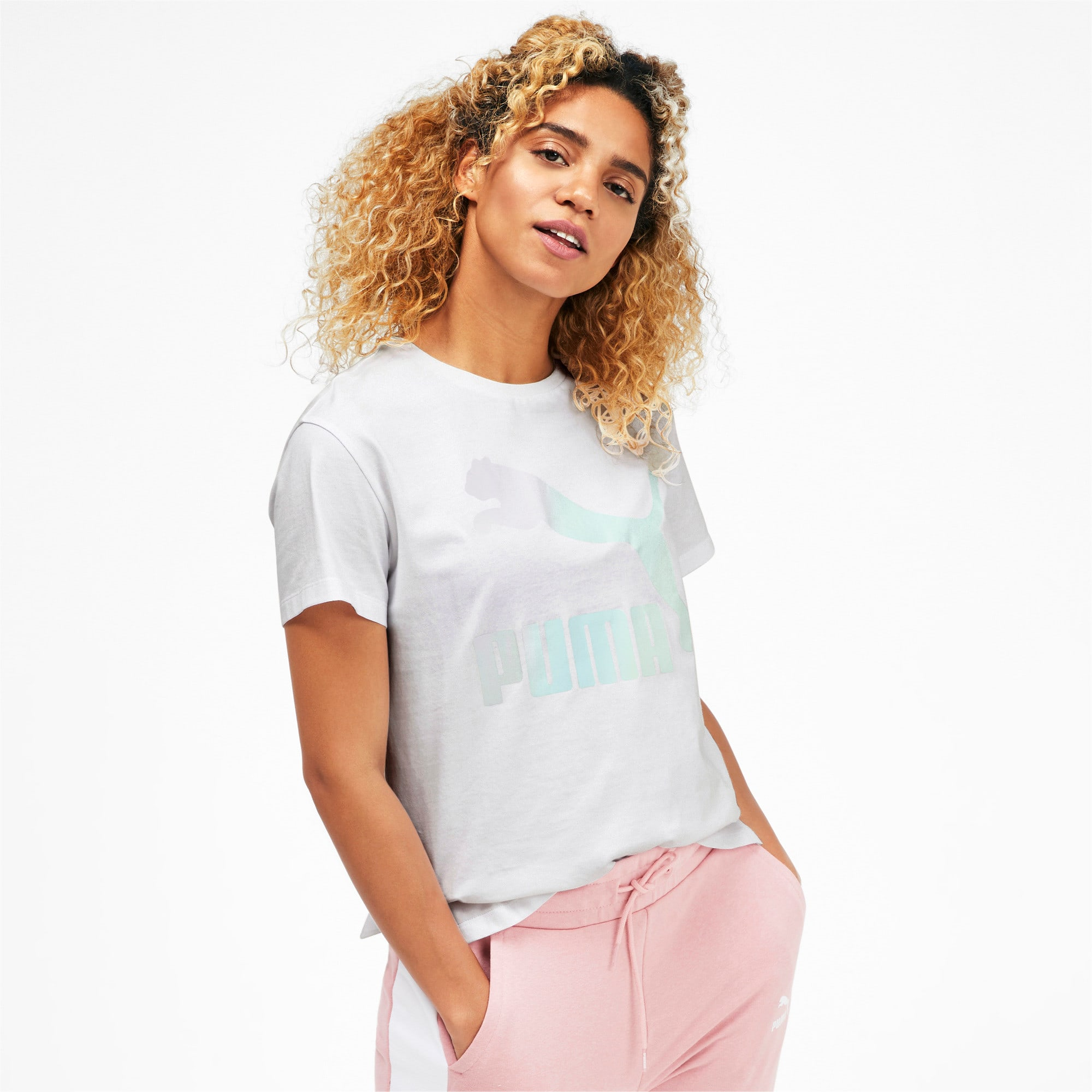 Thumbnail 1 of Classics Women's Logo Tee, Puma White, medium