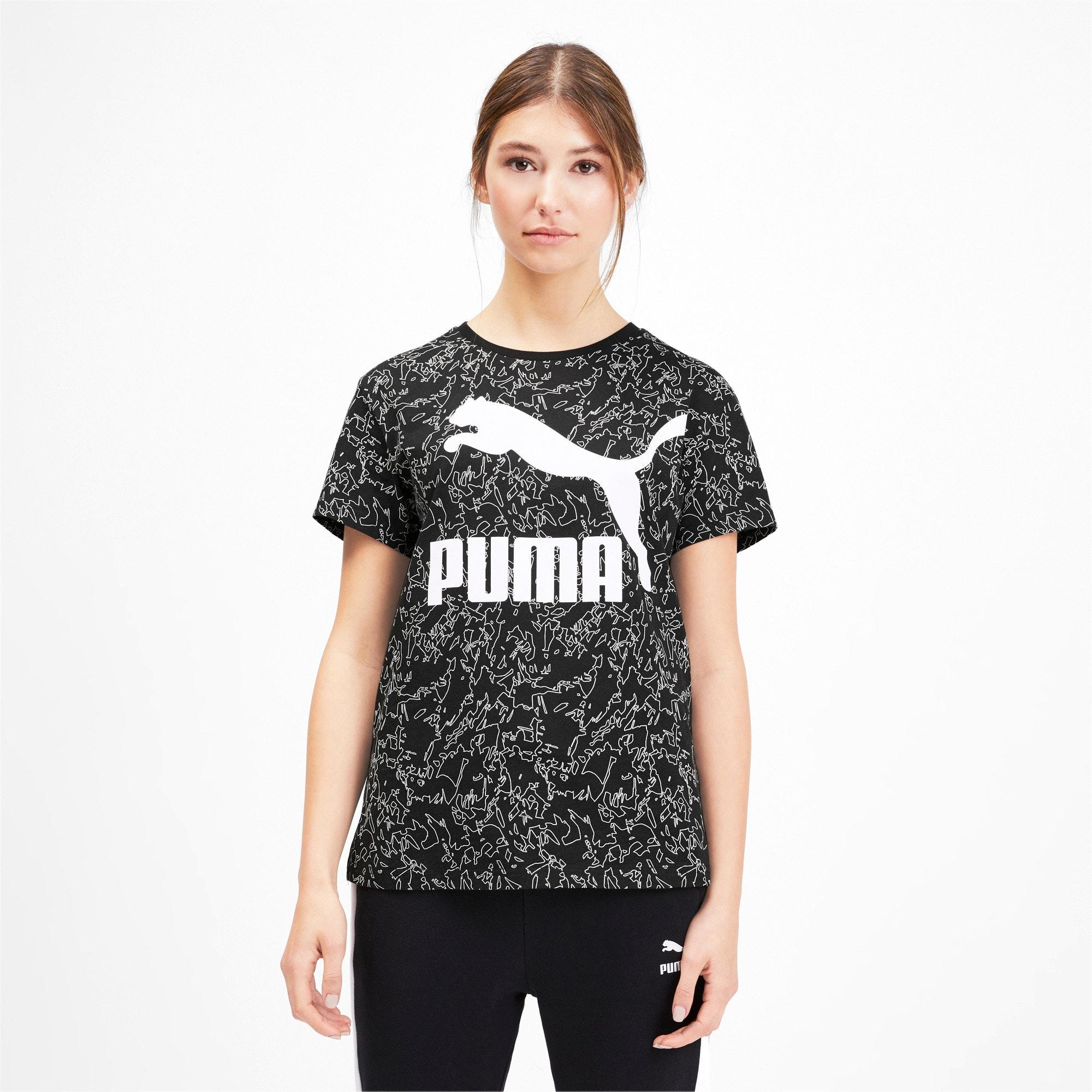 Miniatura 1 de Camiseta Classics AOP con logo para mujer, Puma Black, mediano