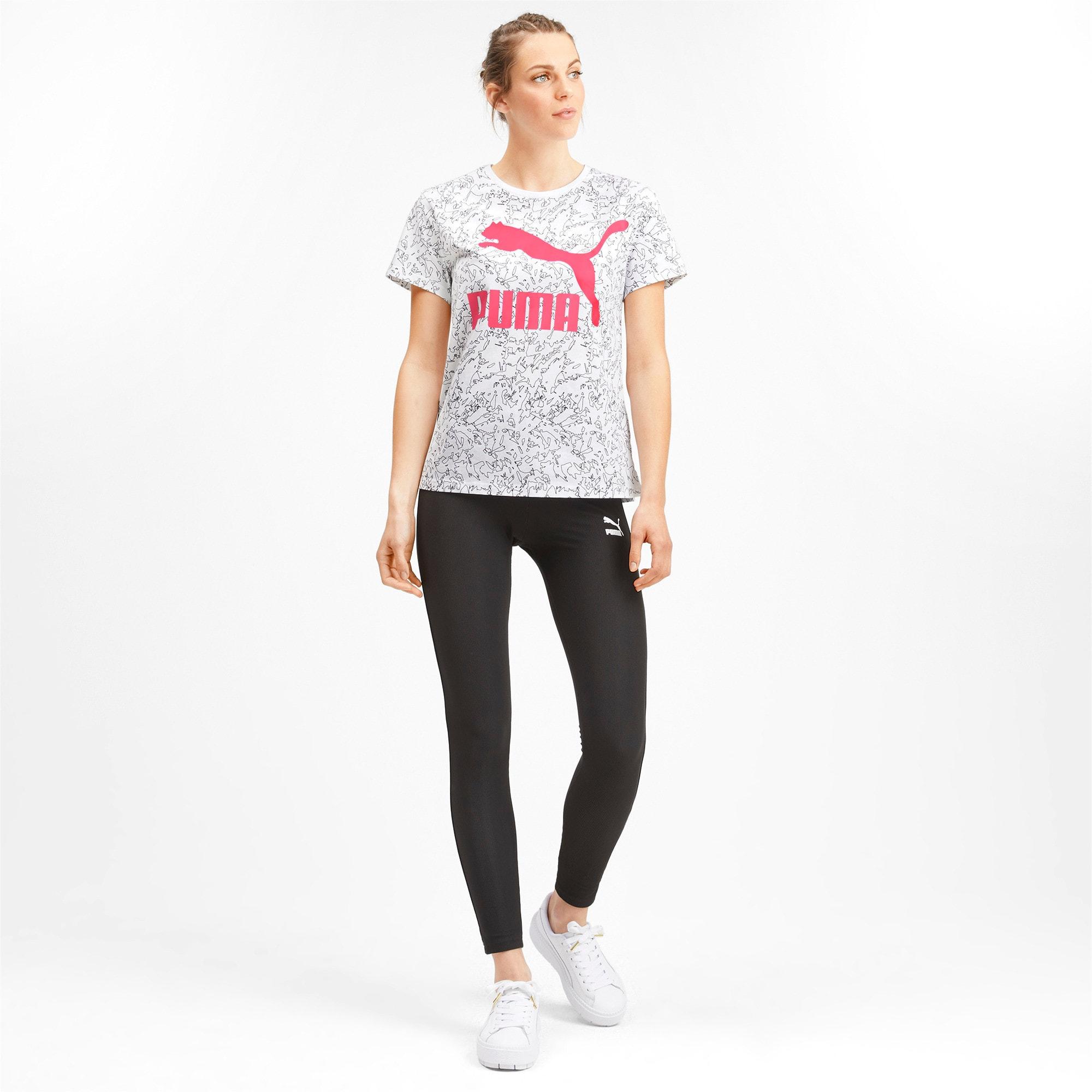 Miniatura 3 de Camiseta Classics AOP con logo para mujer, Puma White, mediano