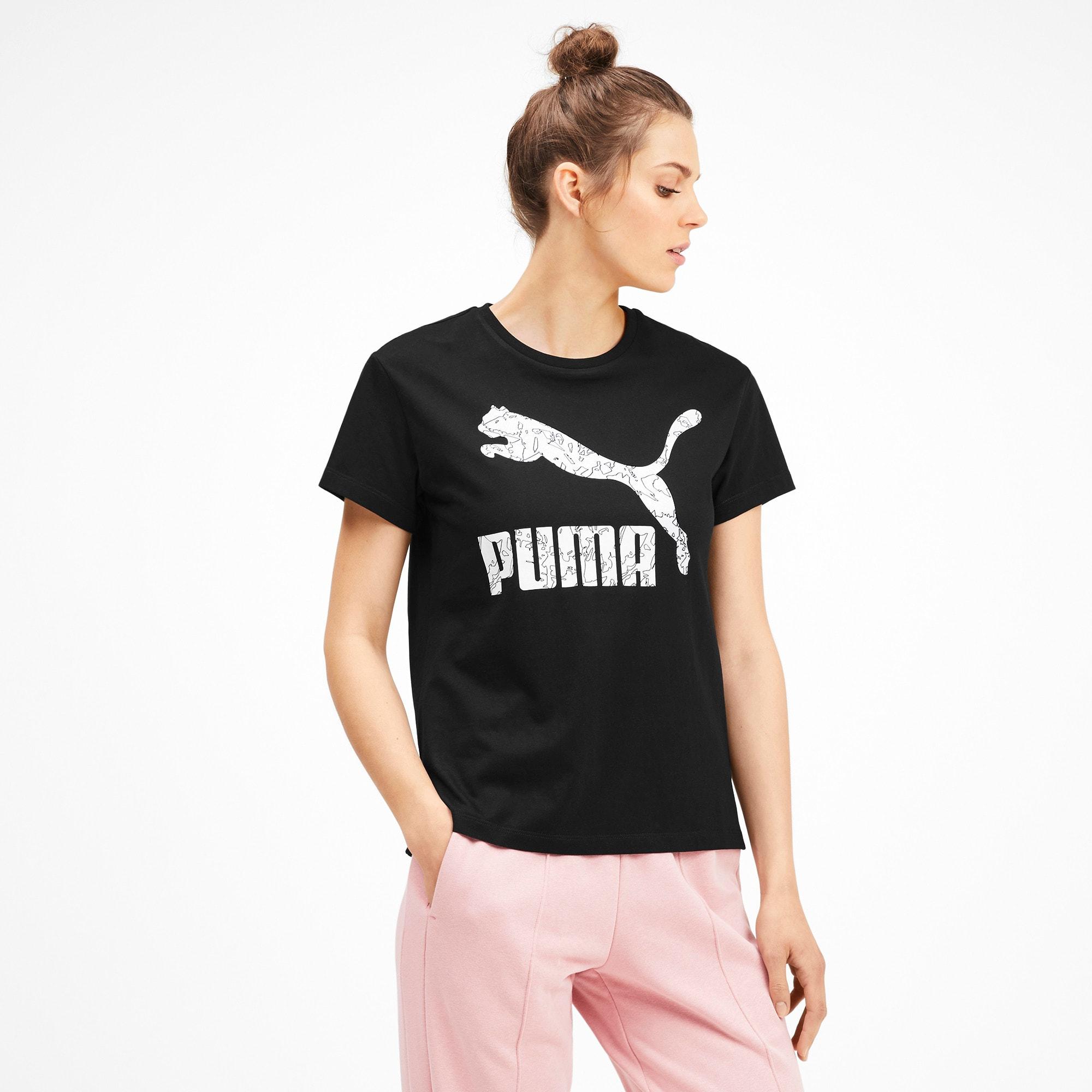 Miniatura 2 de Camiseta Classics AOP con logo para mujer, Puma Black, mediano