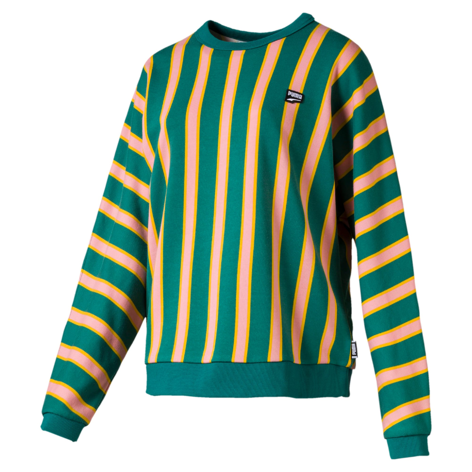Thumbnail 4 of Downtown Stripe Crew Neck Women's Sweater, Teal Green, medium