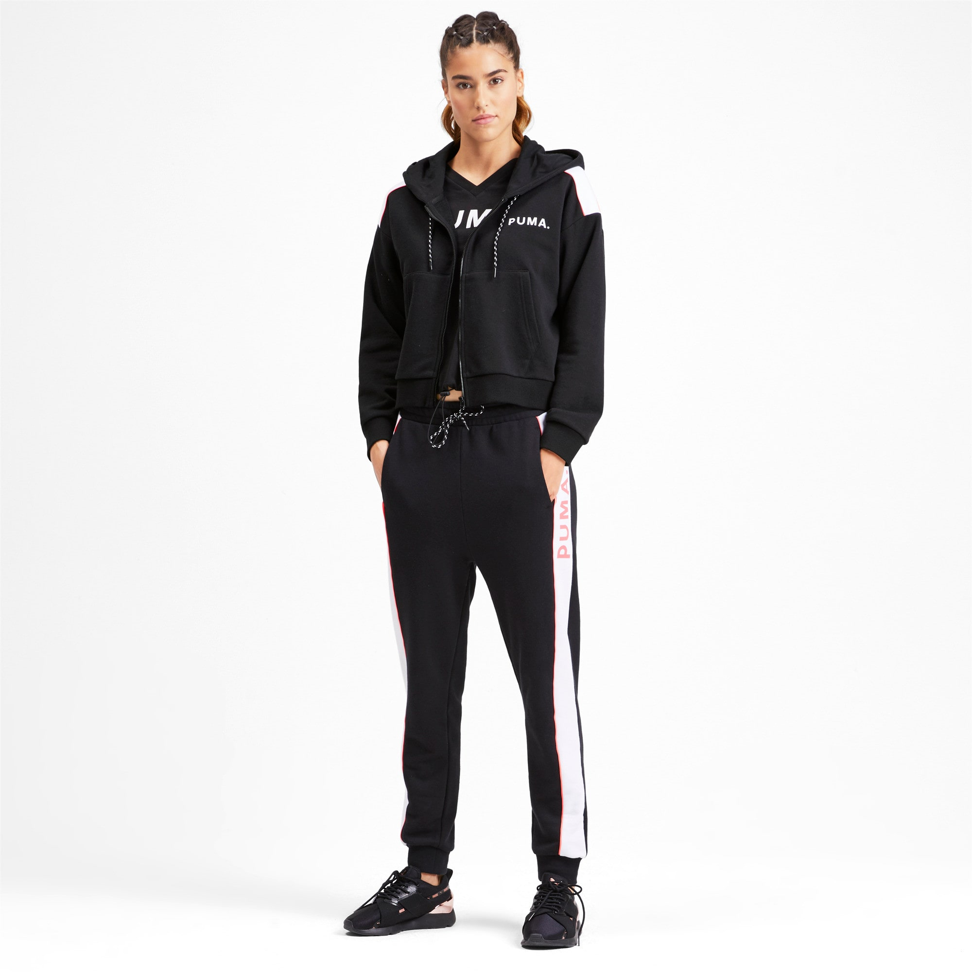 Chase Women's Cropped Full Zip Hoodie, Puma Black, large