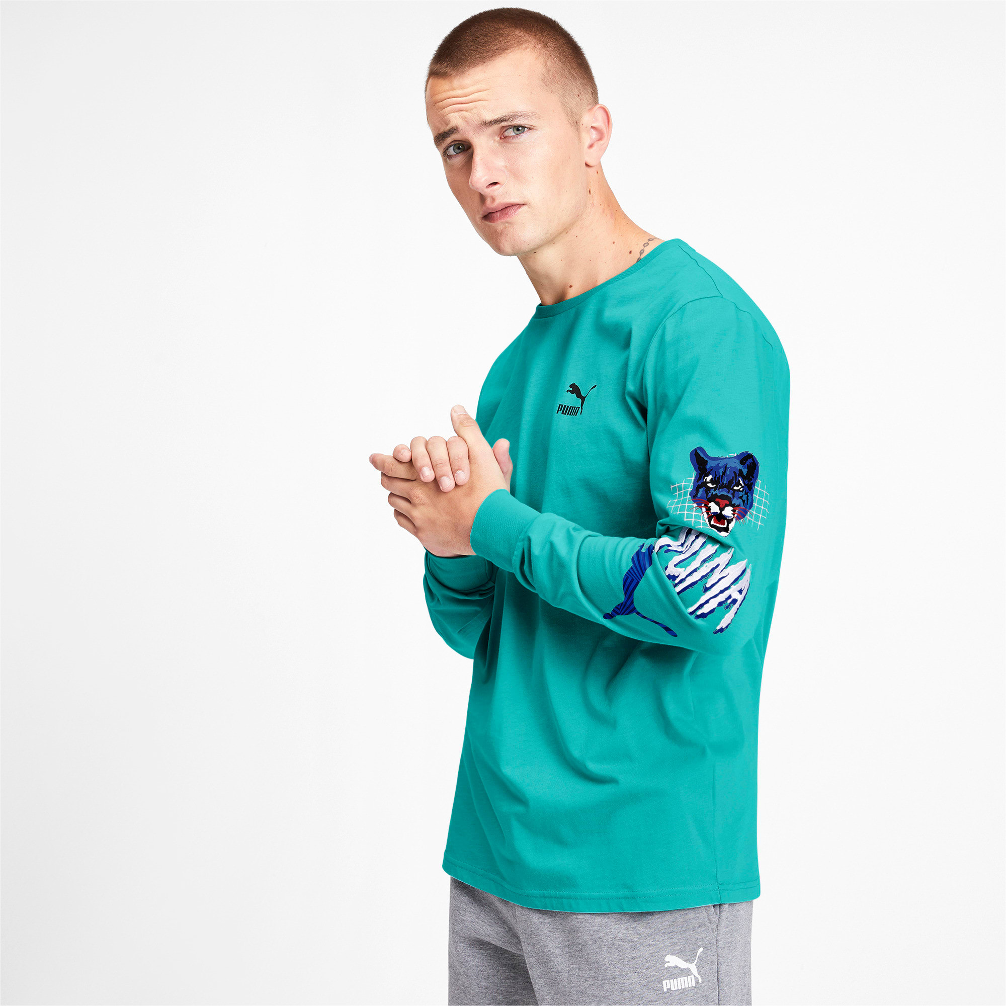 Thumbnail 2 of Claw Pack Men's Long Sleeve Tee, Blue Turquoise, medium