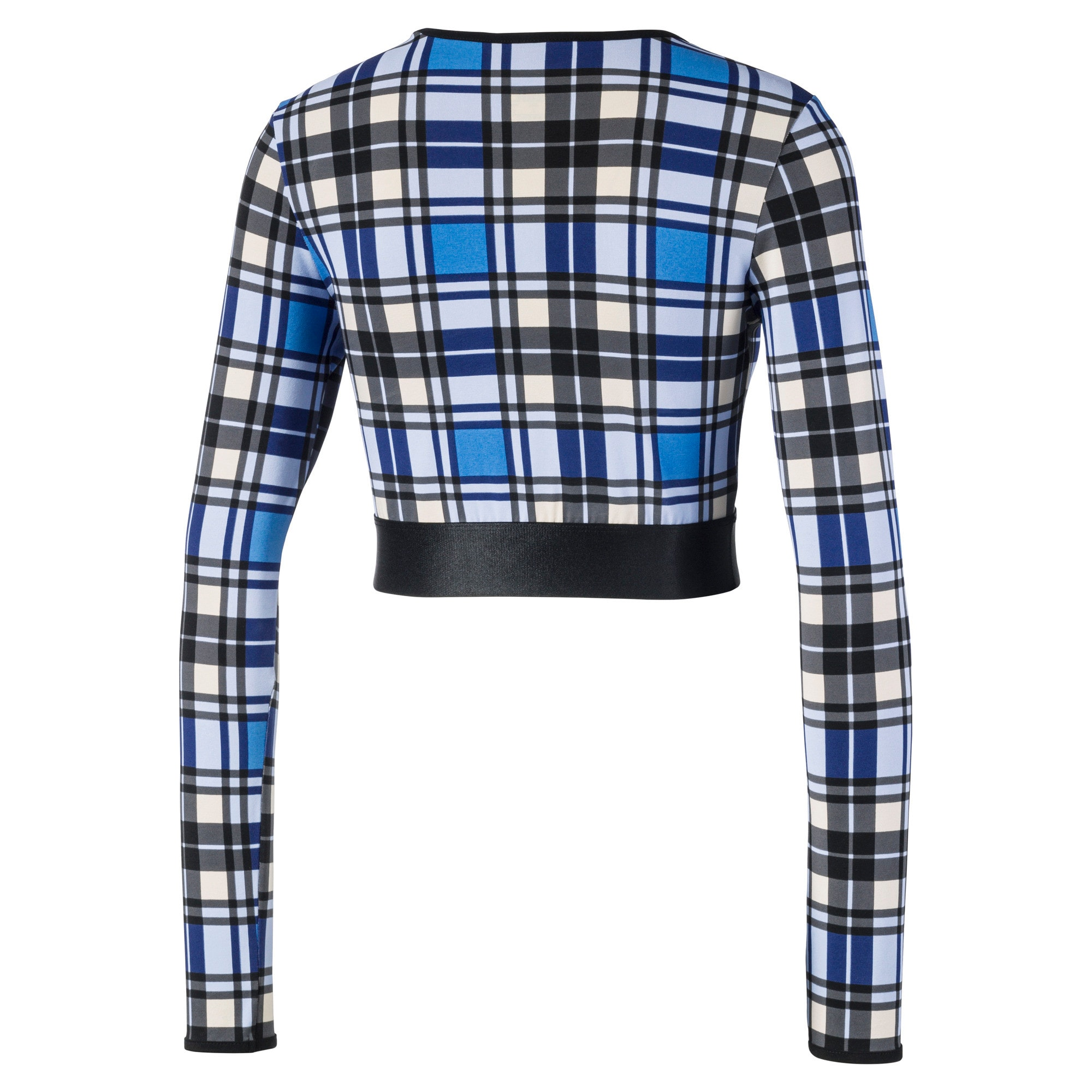 Anteprima 4 di Check Cropped Long Sleeve Women's Top, Strong Blue, medio