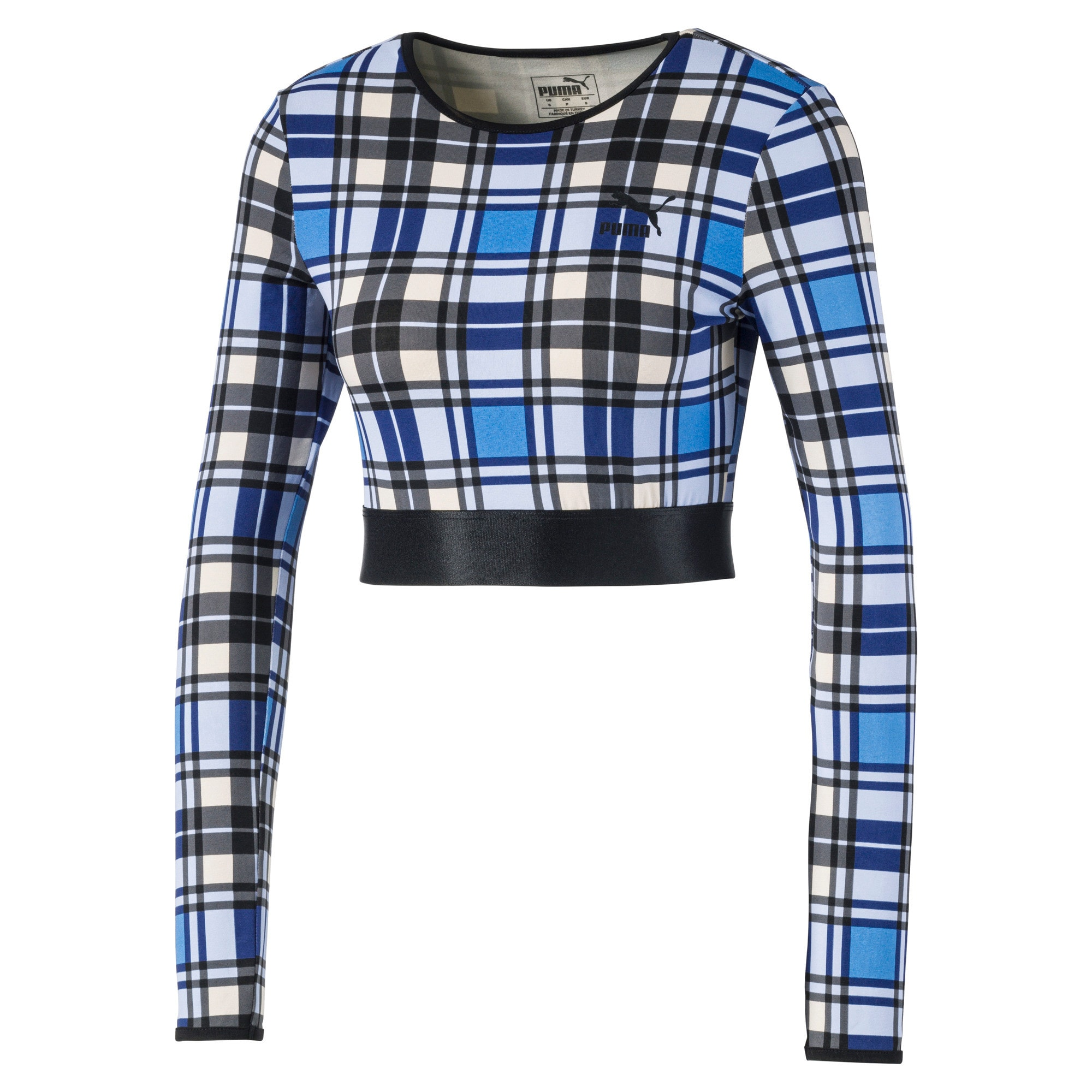 Anteprima 3 di Check Cropped Long Sleeve Women's Top, Strong Blue, medio
