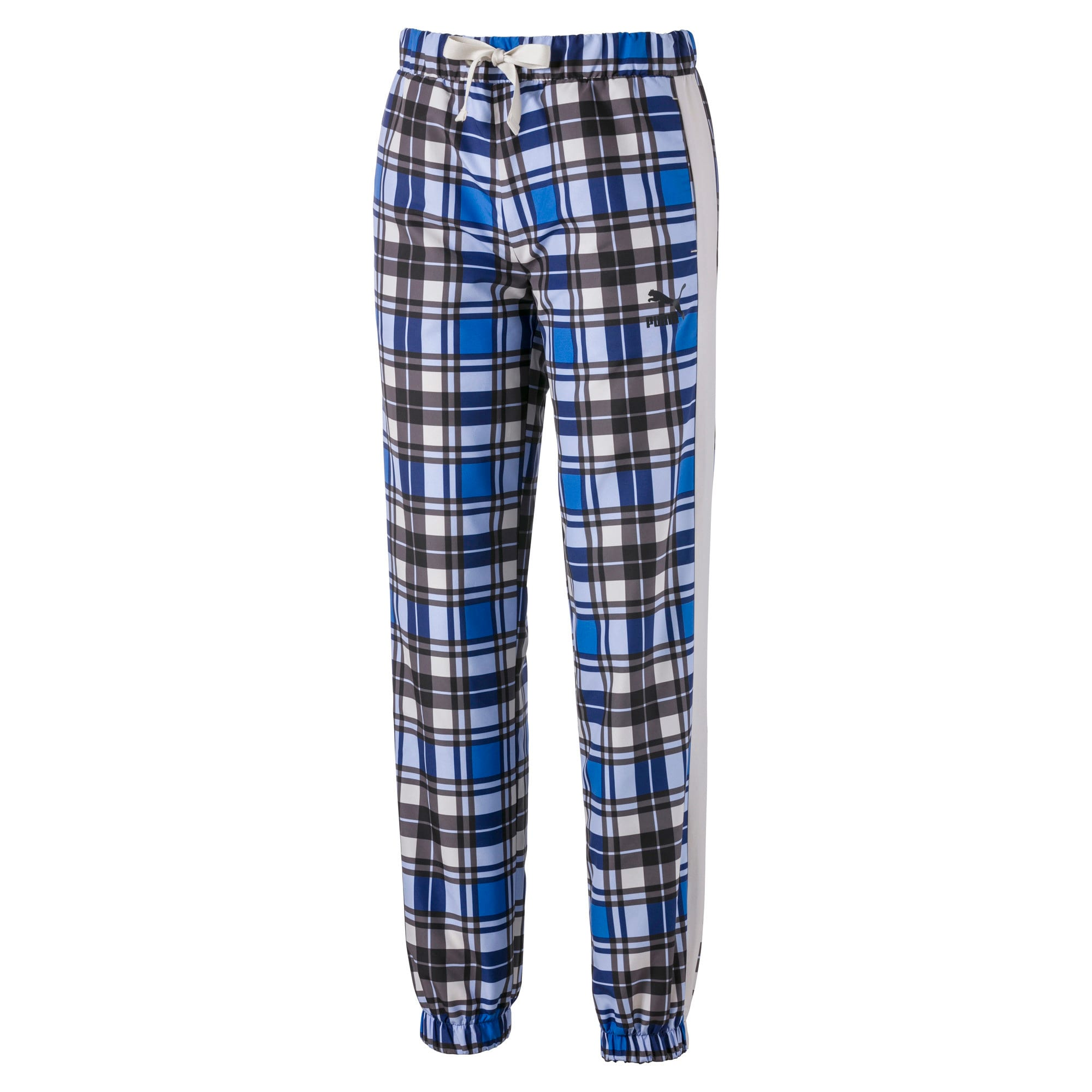 Anteprima 2 di Check Woven Women's Jog Pants, Strong Blue, medio