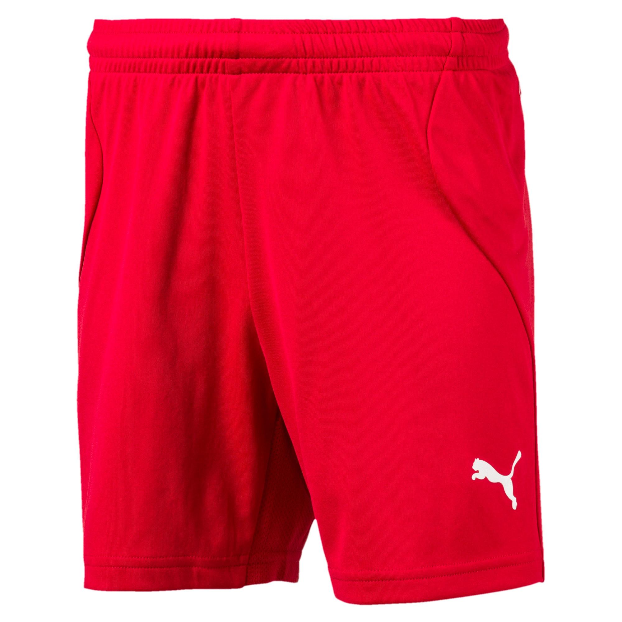 Thumbnail 1 of ftblTRG Kids' Football Training Shorts, Chili Pepper-Puma White, medium-IND