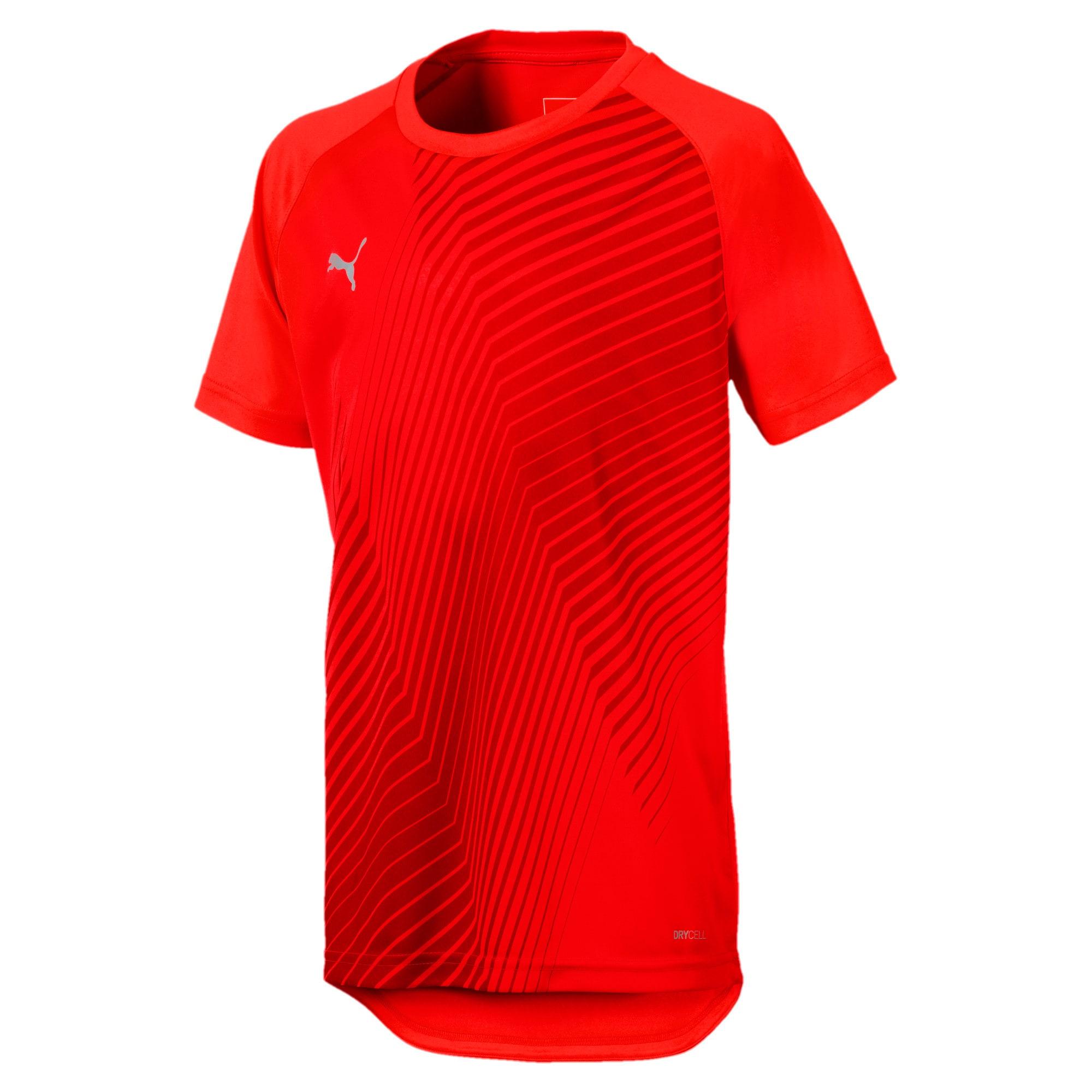 Thumbnail 1 of ftblNXT Graphic Kids' Football Tee, Red Blast-Puma Black, medium-IND